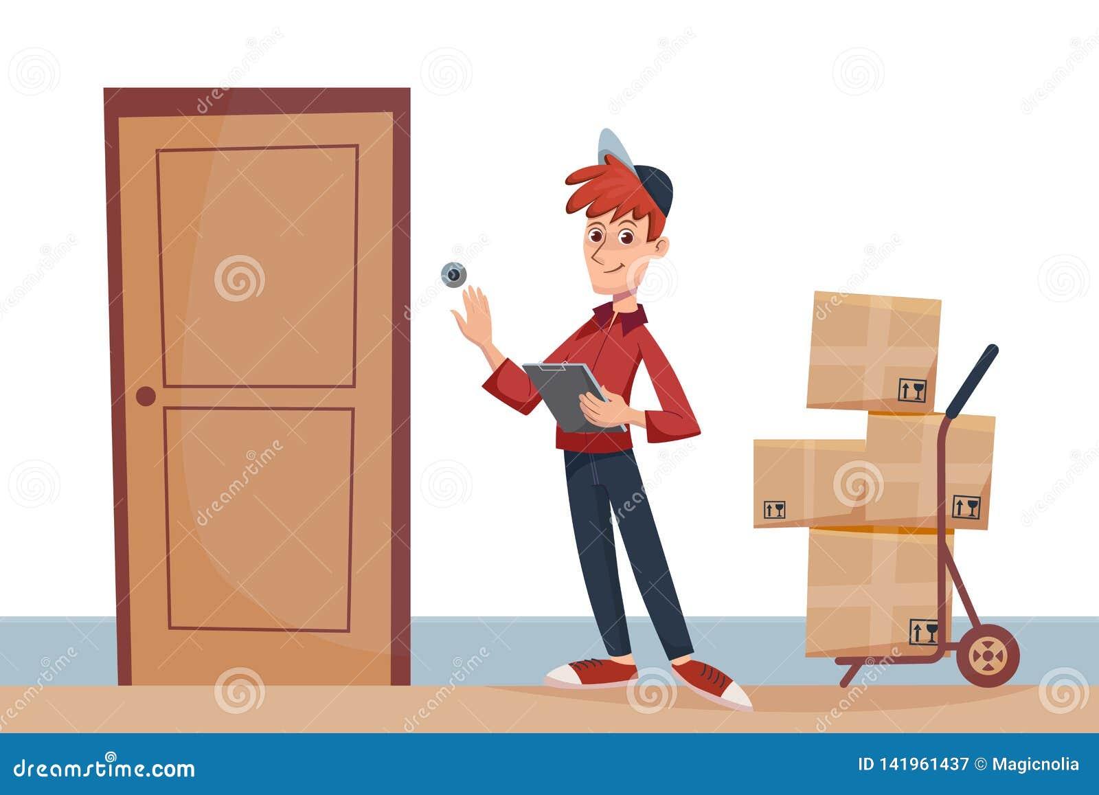 Работник доставляющий покупки на дом с пакетами на двери звенит дверной звонок Быстрое обслуживание доставки к двери концепцией к