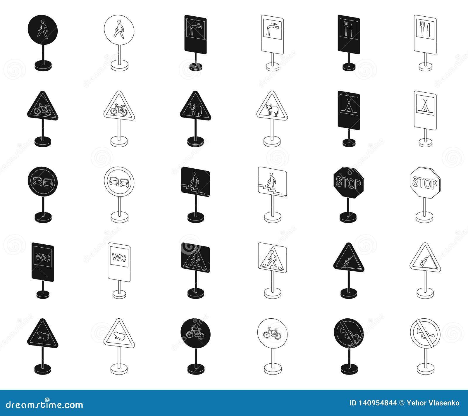 Разные виды дорожных знаков чернят, конспектируют значки в собрании комплекта для дизайна Вектор знаков предупреждения и запрета