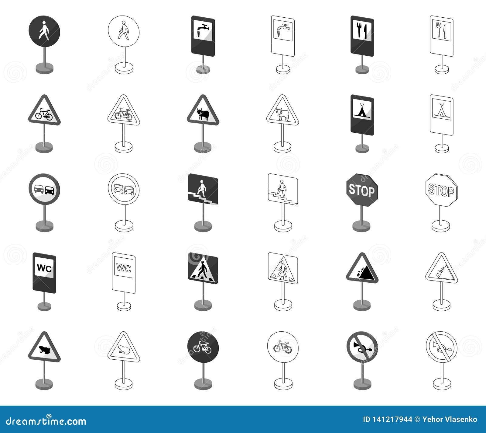 Разные виды дорожных знаков monochrome, значков плана в установленном собрании для дизайна Знаки предупреждения и запрета
