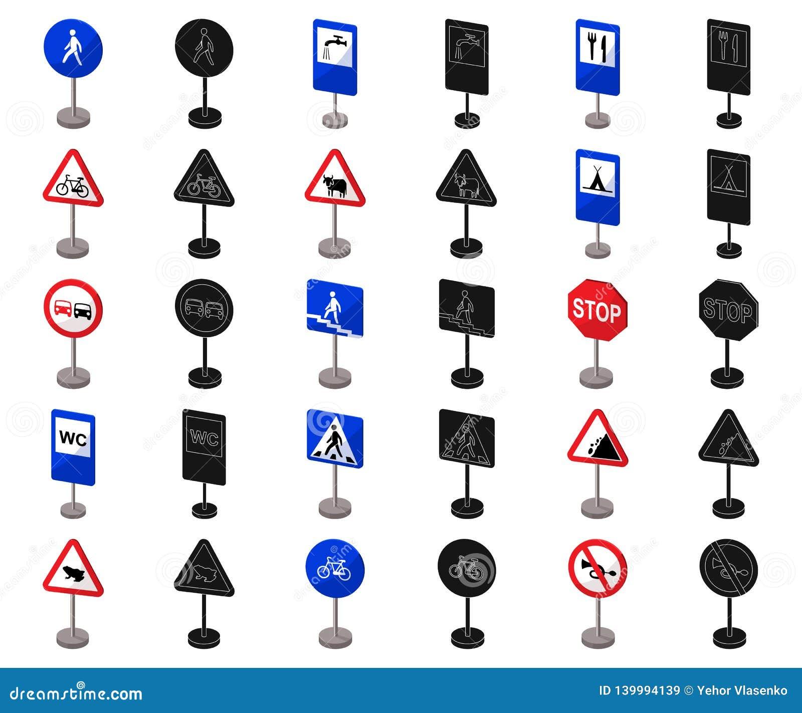 Разные виды шаржа дорожных знаков, черные значки в собрании комплекта для дизайна Вектор знаков предупреждения и запрета
