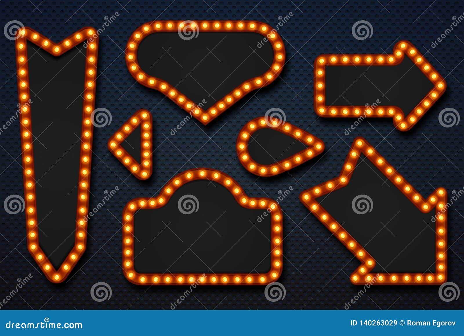 Ретро рамки шатра Шильдик казино цирка фильма зеркала макияжа стрелок электрической лампочки винтажный Рамка вектора 3D реалистич