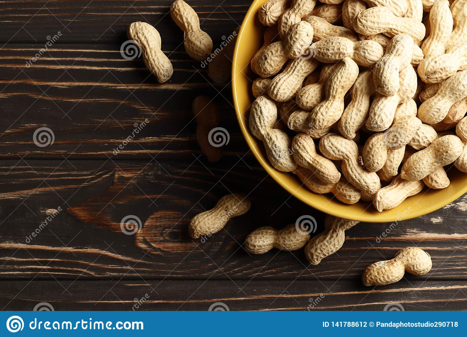 Рeanuts on wooden background