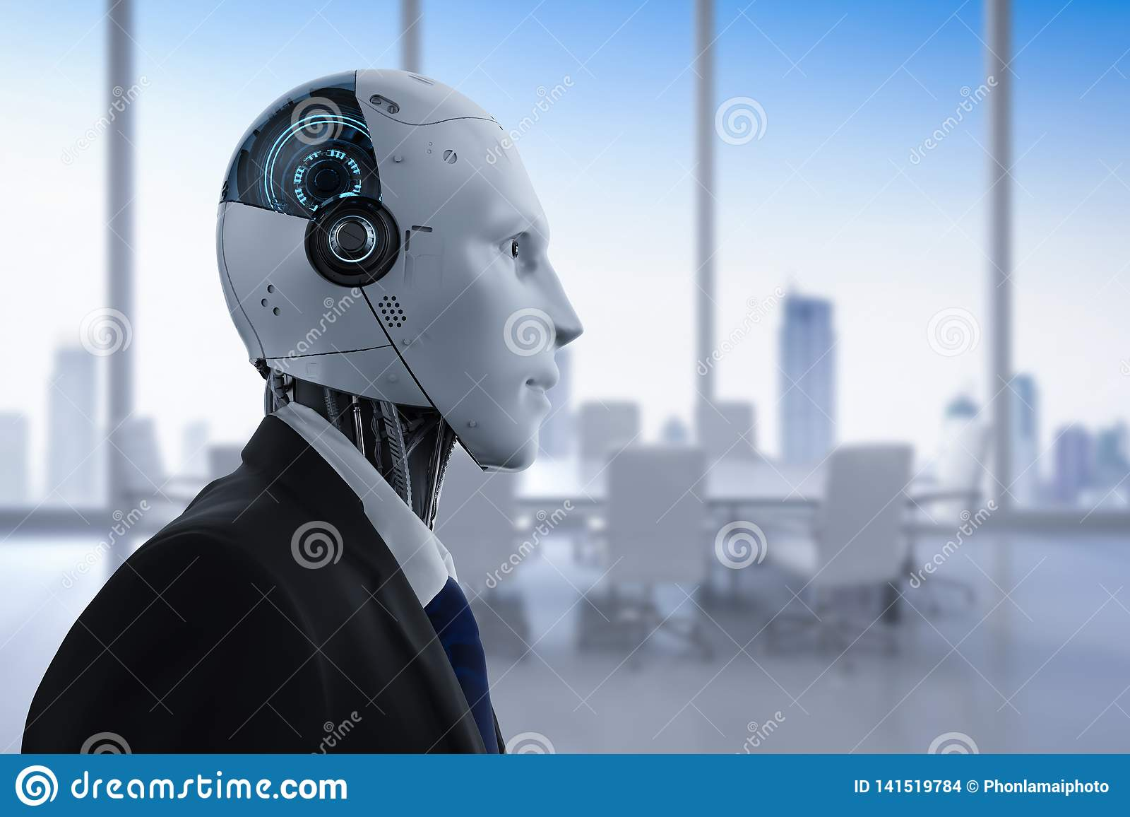 Робототехнический бизнесмен в офисе