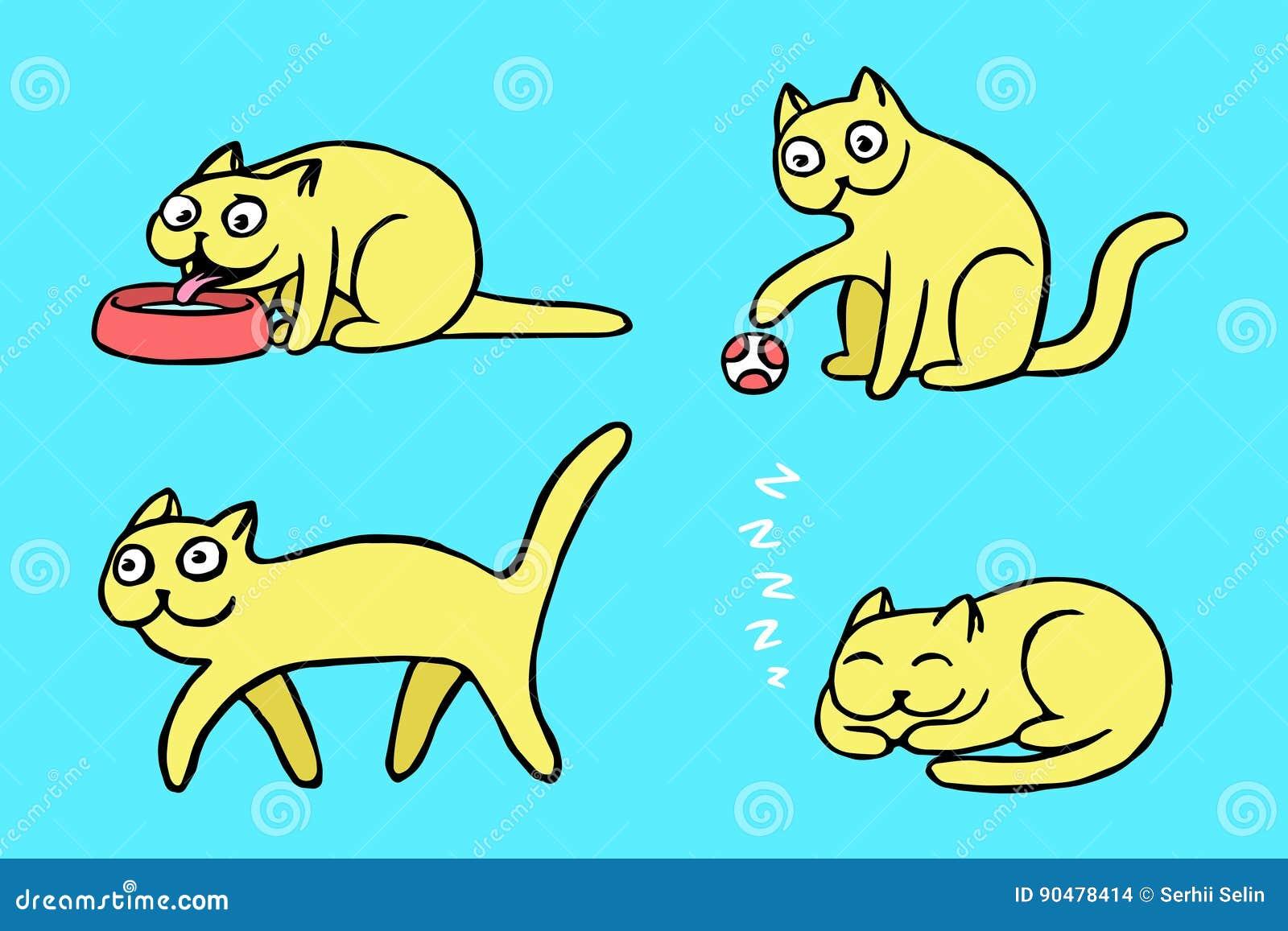 Żółci pussycat emoticons ustawiający również zwrócić corel ilustracji wektora