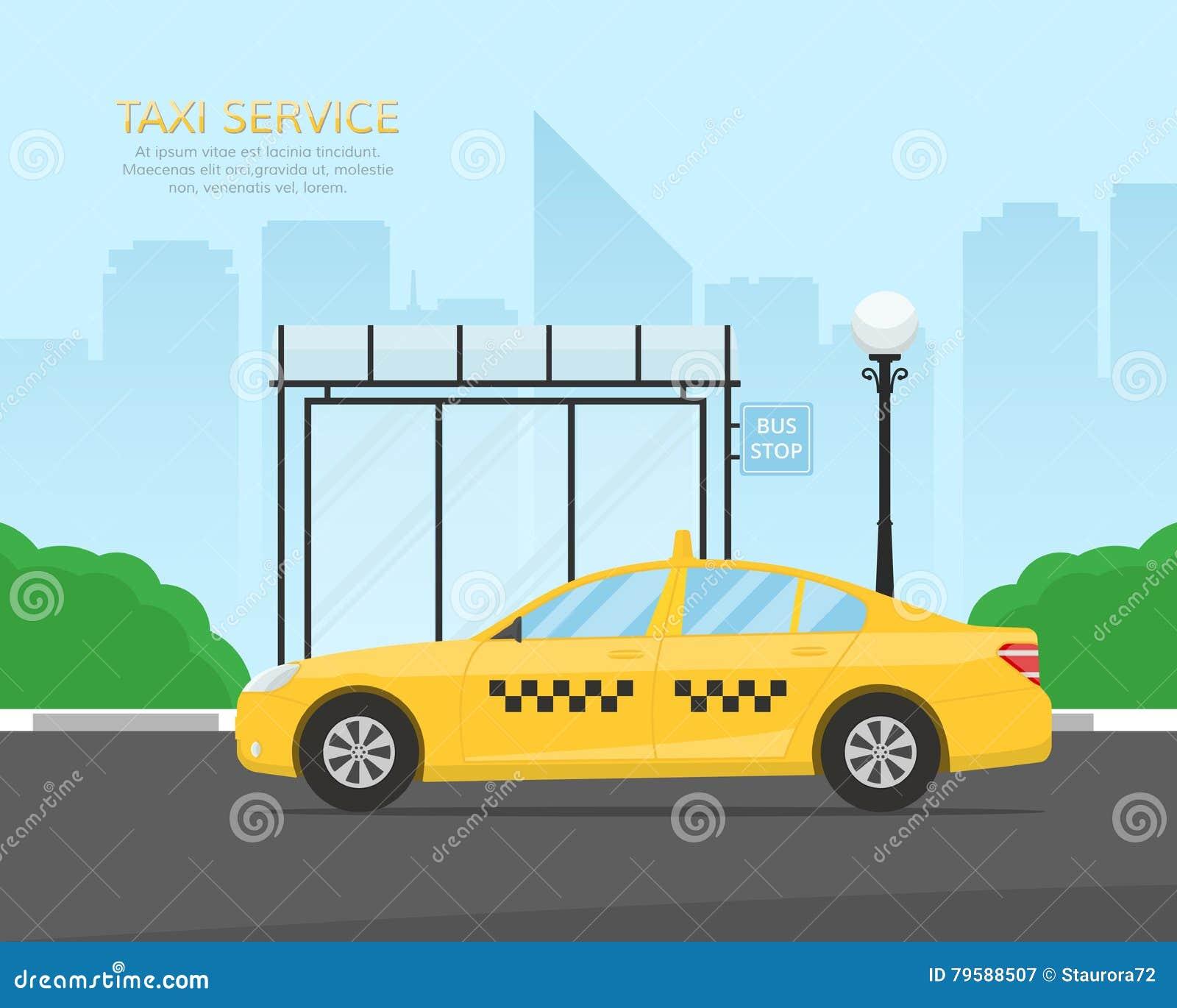 Żółci taxi taksówki czekania pasażery przy autobusową przerwą blisko parka Szablon dla sztandaru lub billboardu taxi usługa