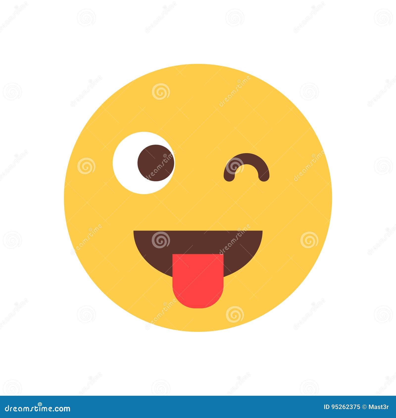 Żółci Uśmiechnięci kreskówki twarzy przedstawienia jęzoru mrugnięcia Emoji emoci ikony ludzie