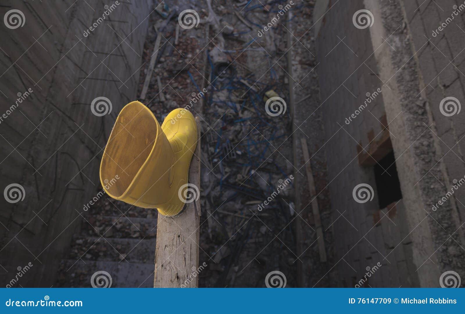 Żółci Wellington Podeszczowi buty