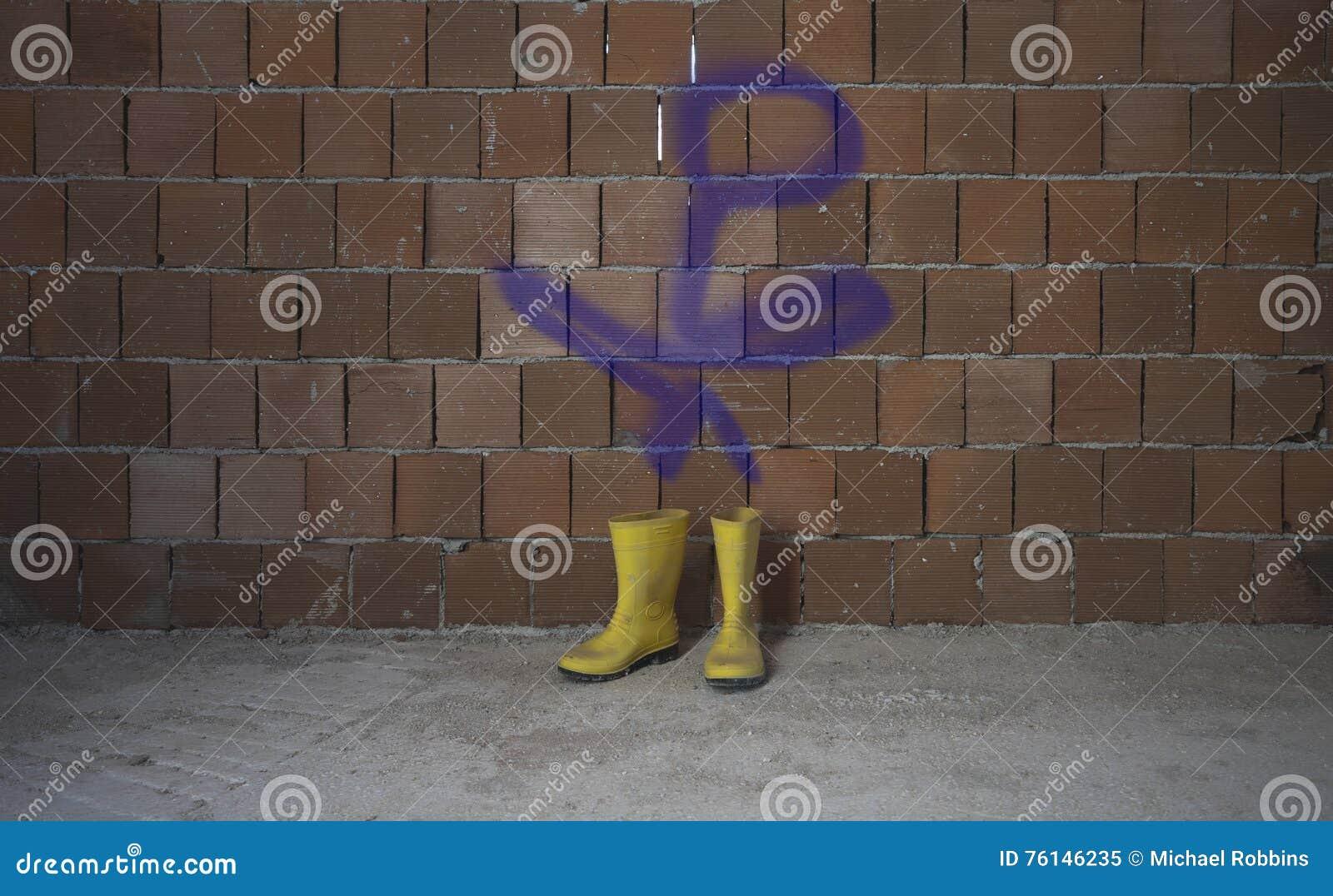 Żółci Wellington Podeszczowi buty Graffiti postać