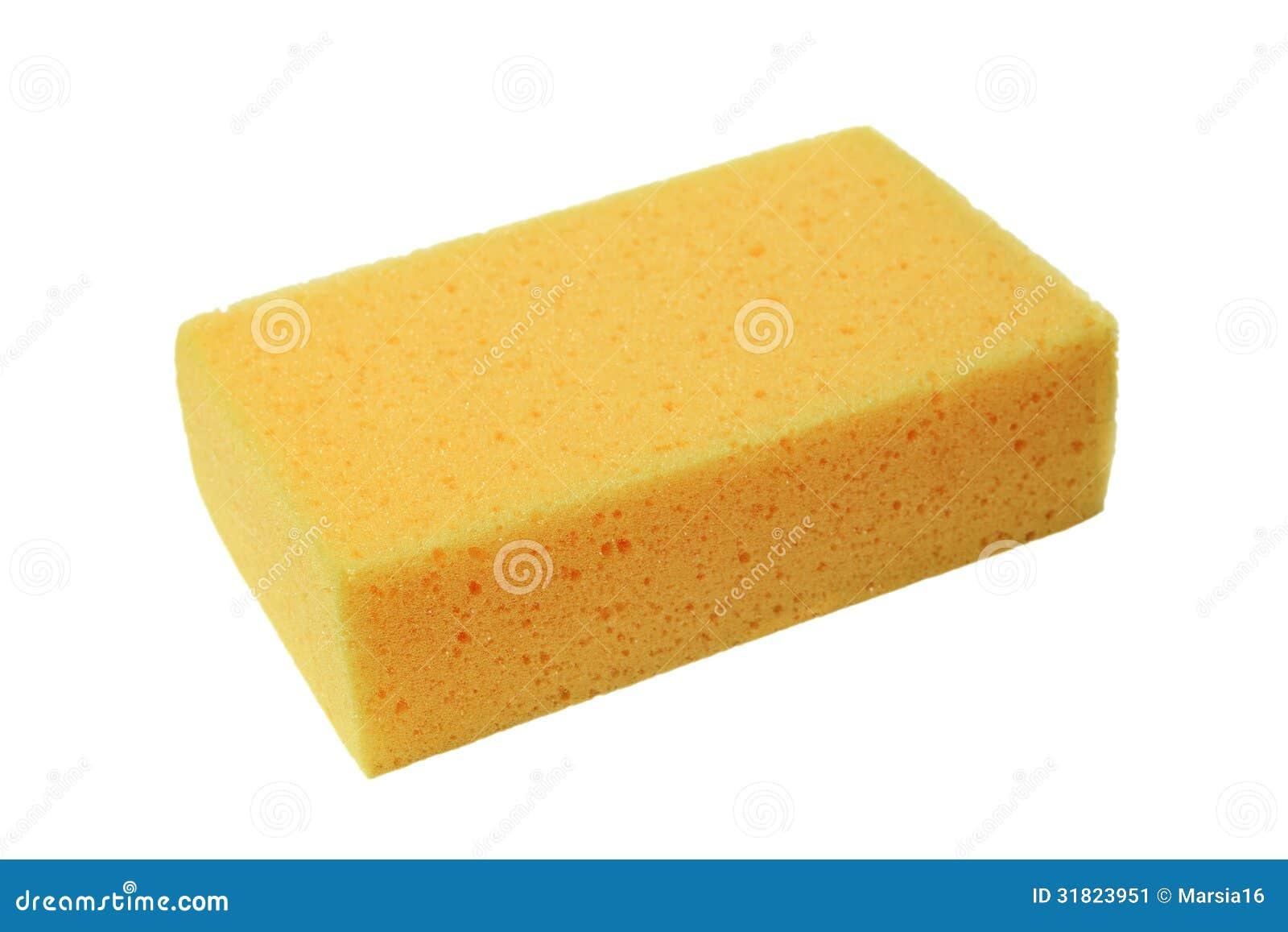 Żółta gąbka na bielu