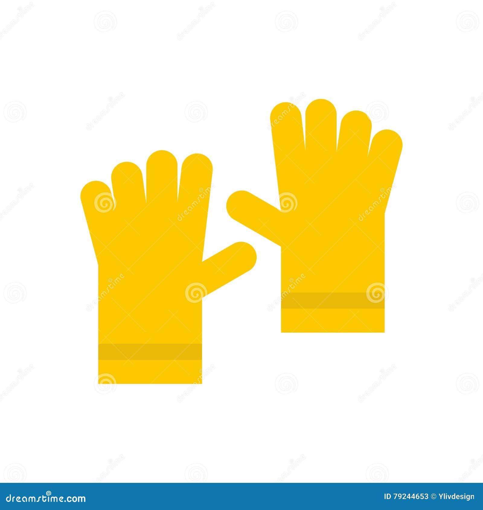 Żółta gumowa rękawiczki ikona, mieszkanie styl