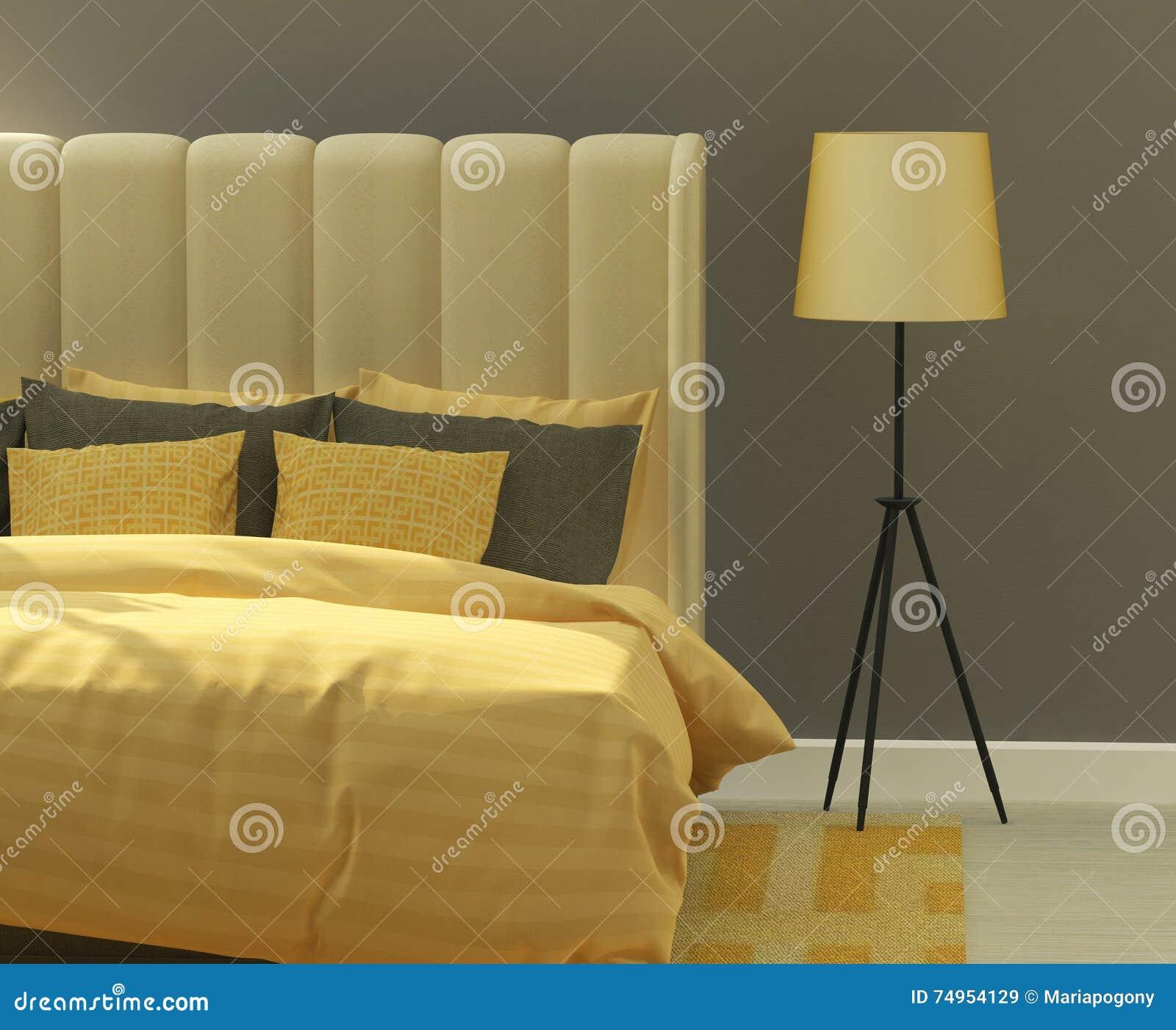 żółta I Szara Sypialnia Obraz Stock Obraz Złożonej Z