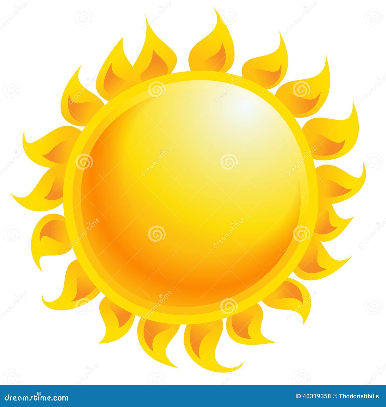 Żółtej kreskówki słońca wektorowy jaśnienie odizolowywający w białym tle
