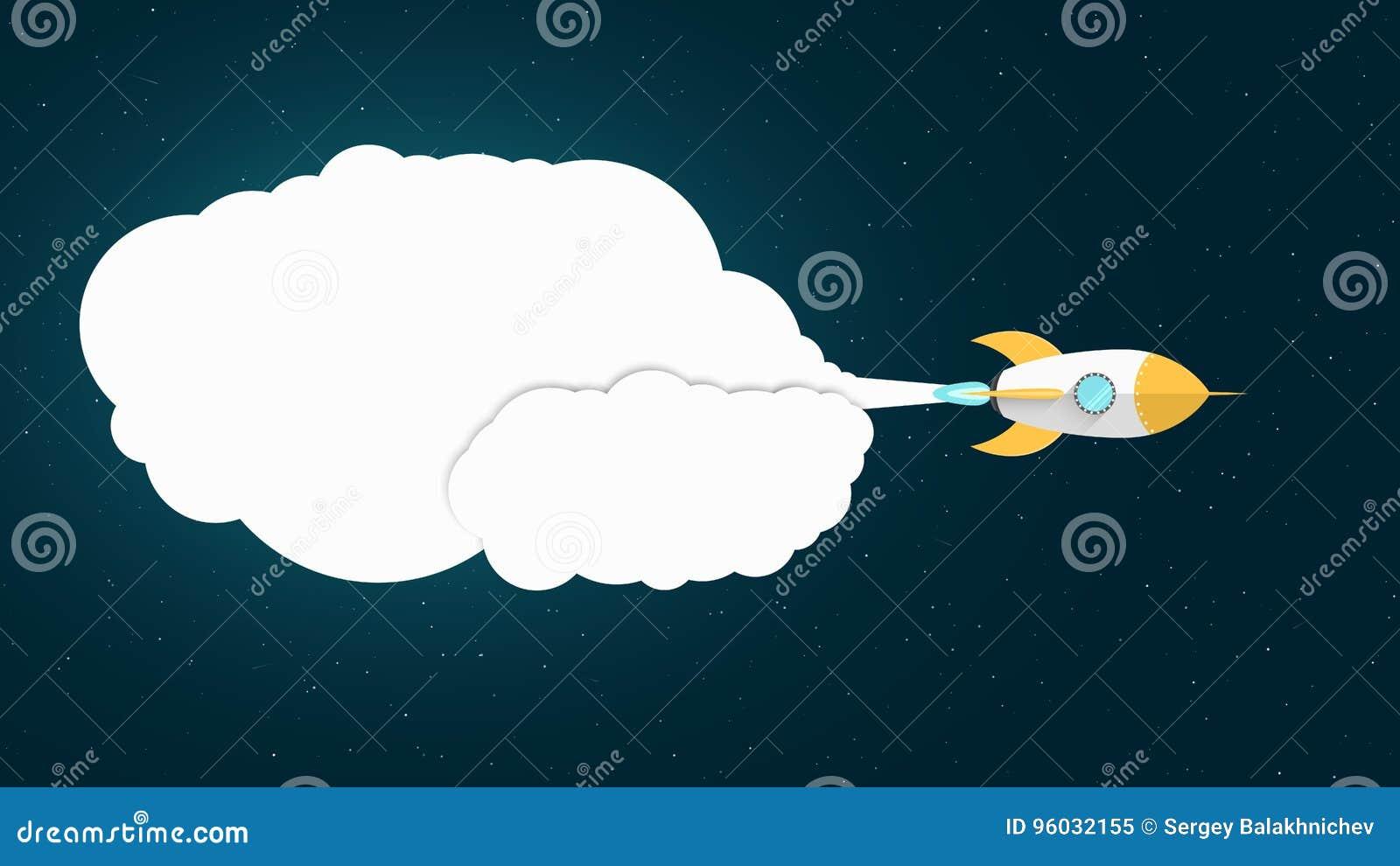 Żółty kreskówka pocisk lata w przestrzeni Astronautyczny pojęcie Biała chmura dymu od turbina Pusty sztandar dla Twój teksta sta