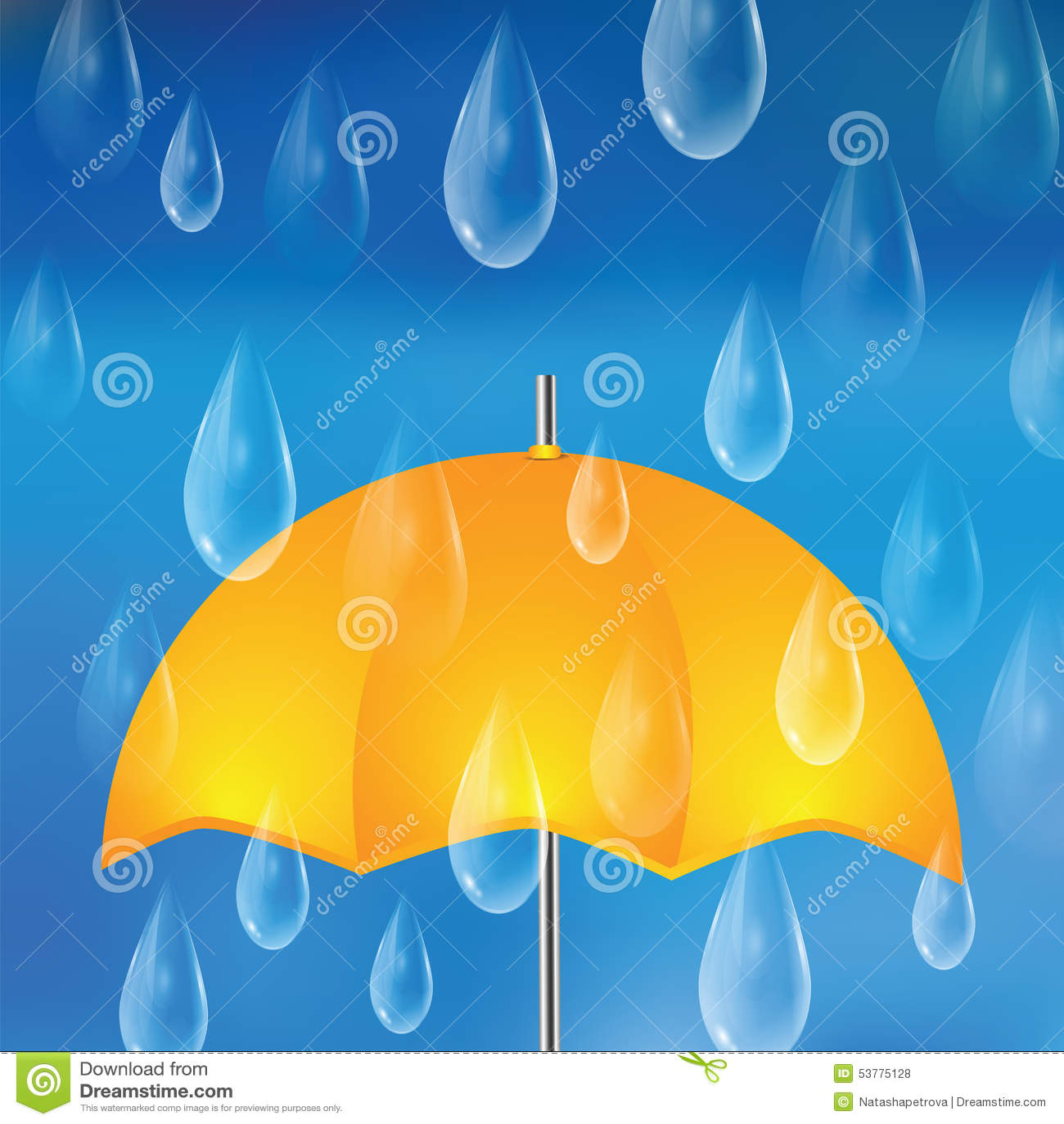 Żółty parasol i raindrops
