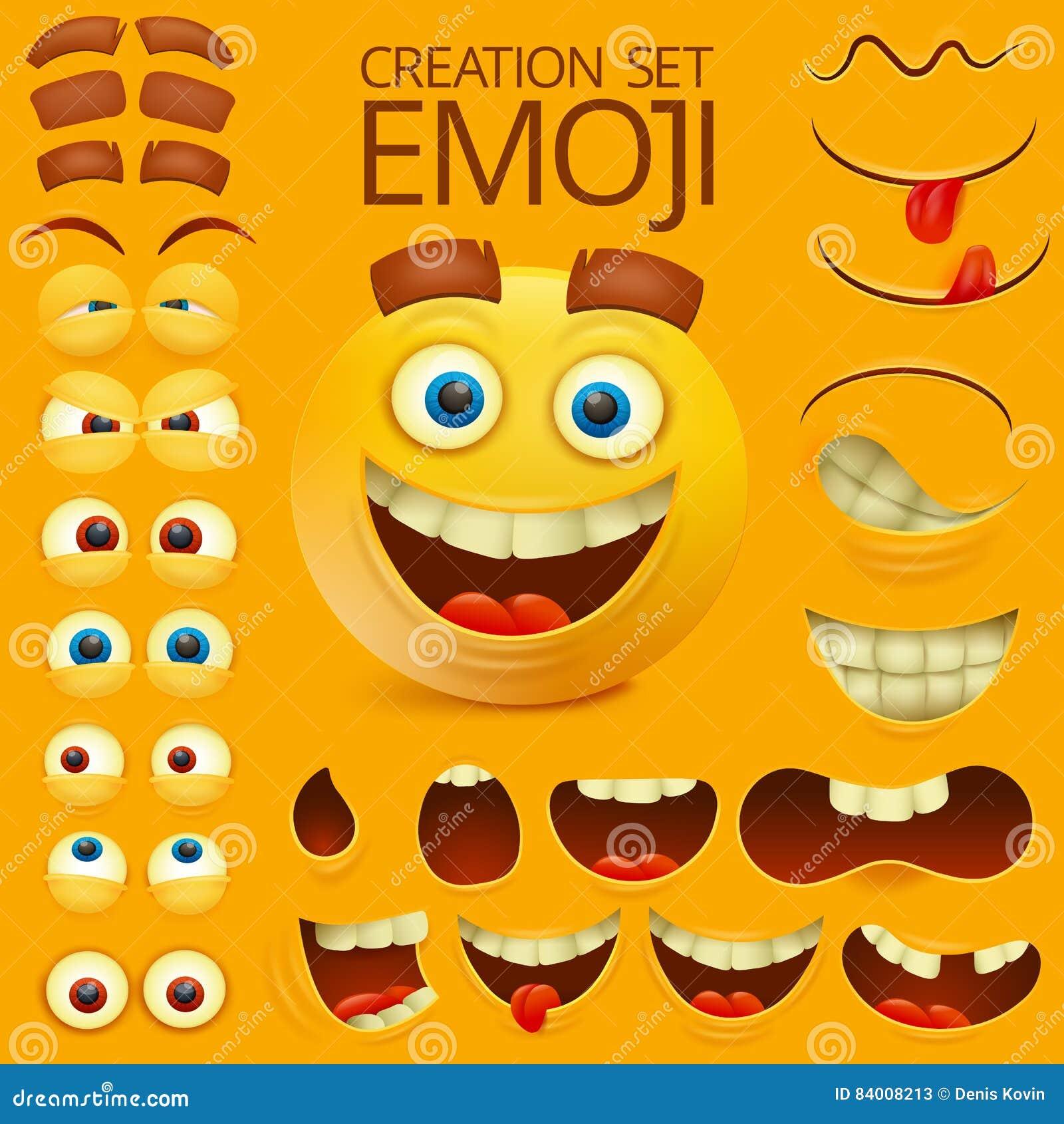 Żółty smiley twarzy charakter dla twój scena szablonu Emocja duży set