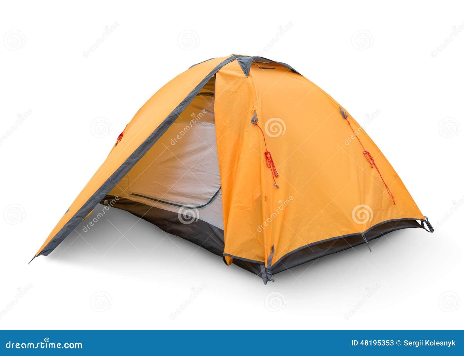 Żółty turystyczny namiot