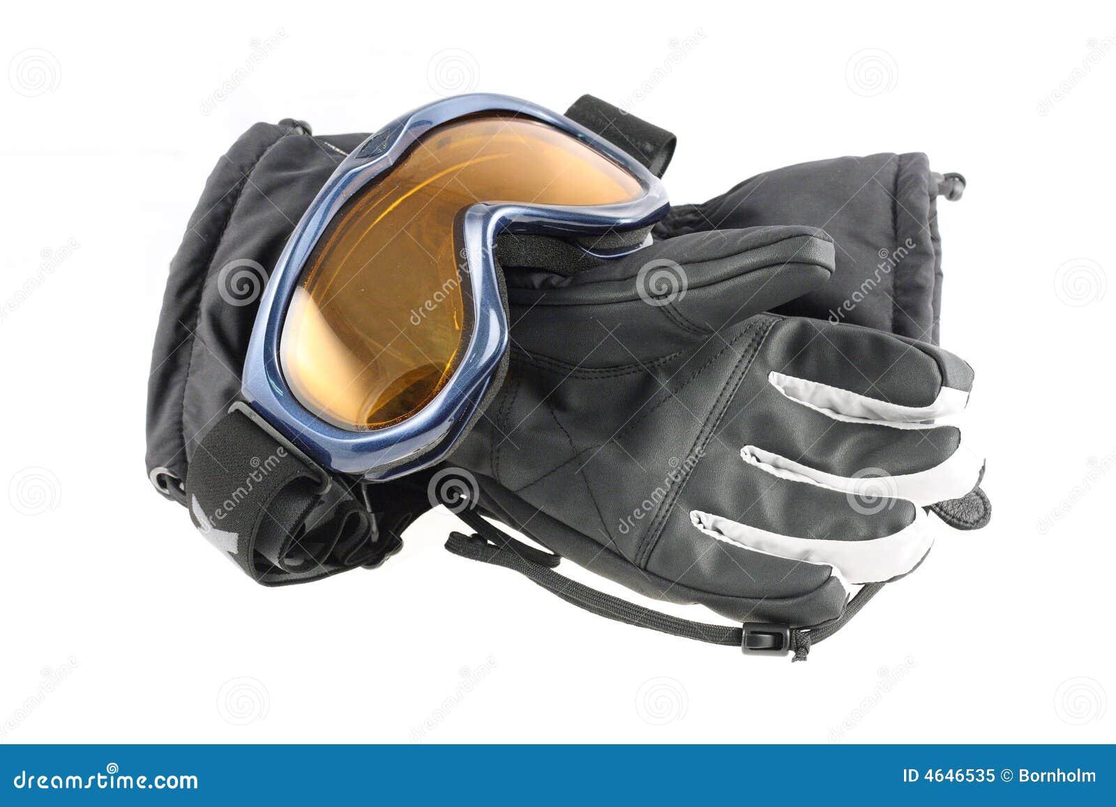 Óculos de proteção e luvas do esqui