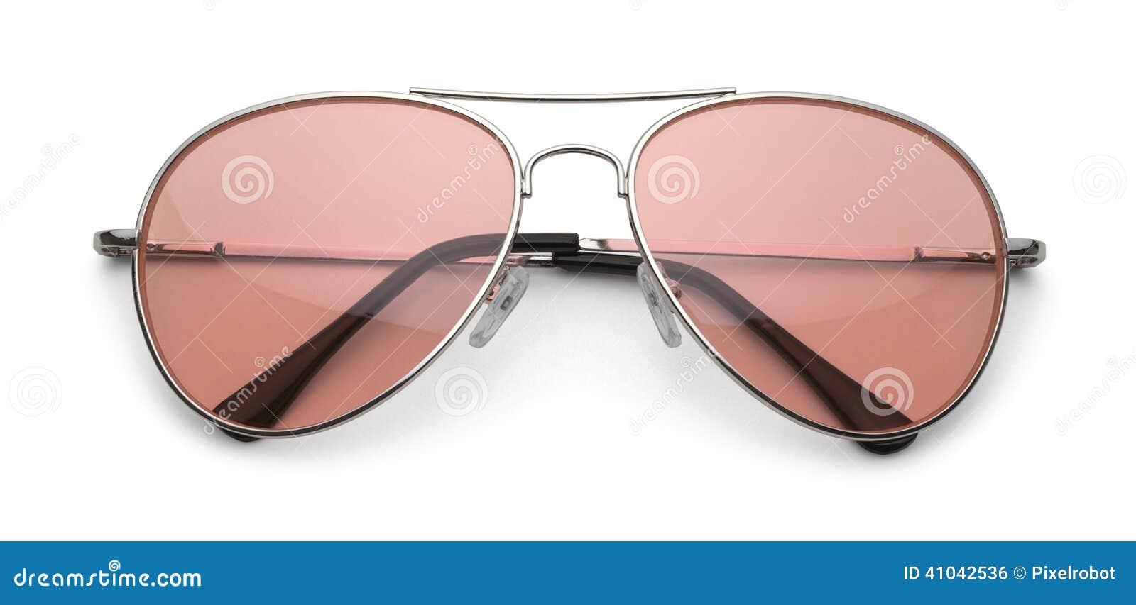 e1223797e9dfb Aviador Sunglasses com as lentes cor-de-rosa isoladas no fundo branco com  trajeto de grampeamento