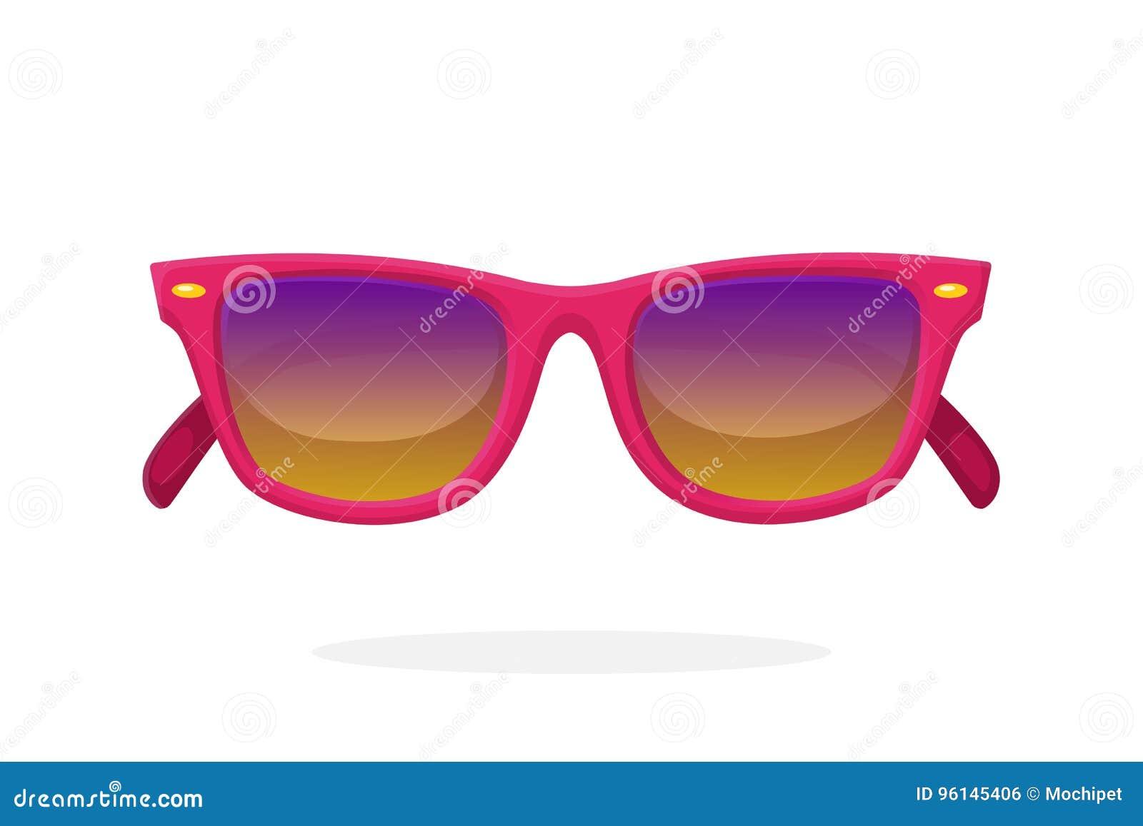 786af935e287a Os óculos de sol modernos com rosa plástico-moldaram quadros e lentes do  espelho Ilustração do vetor no estilo dos desenhos animados Acessório do  verão ...