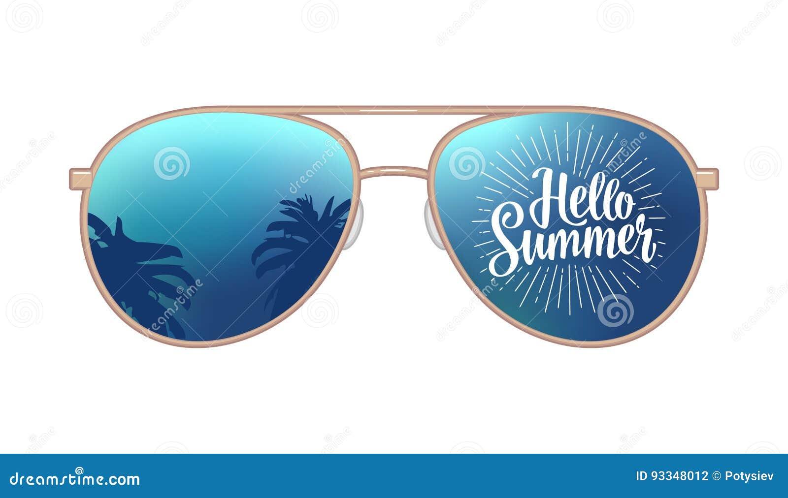 Óculos de sol modernos do aviador com reflexão das palmas e olá! rotulação do verão