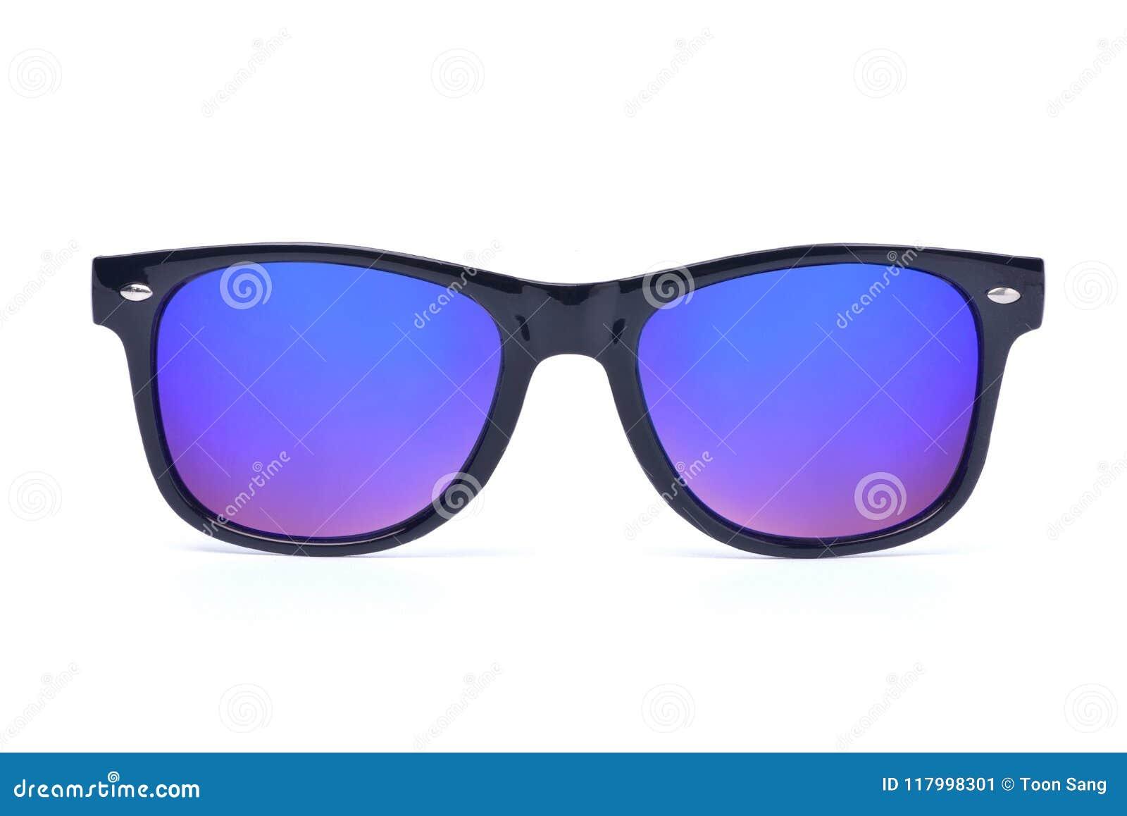 Óculos de sol pretos com a lente multicolorido do espelho