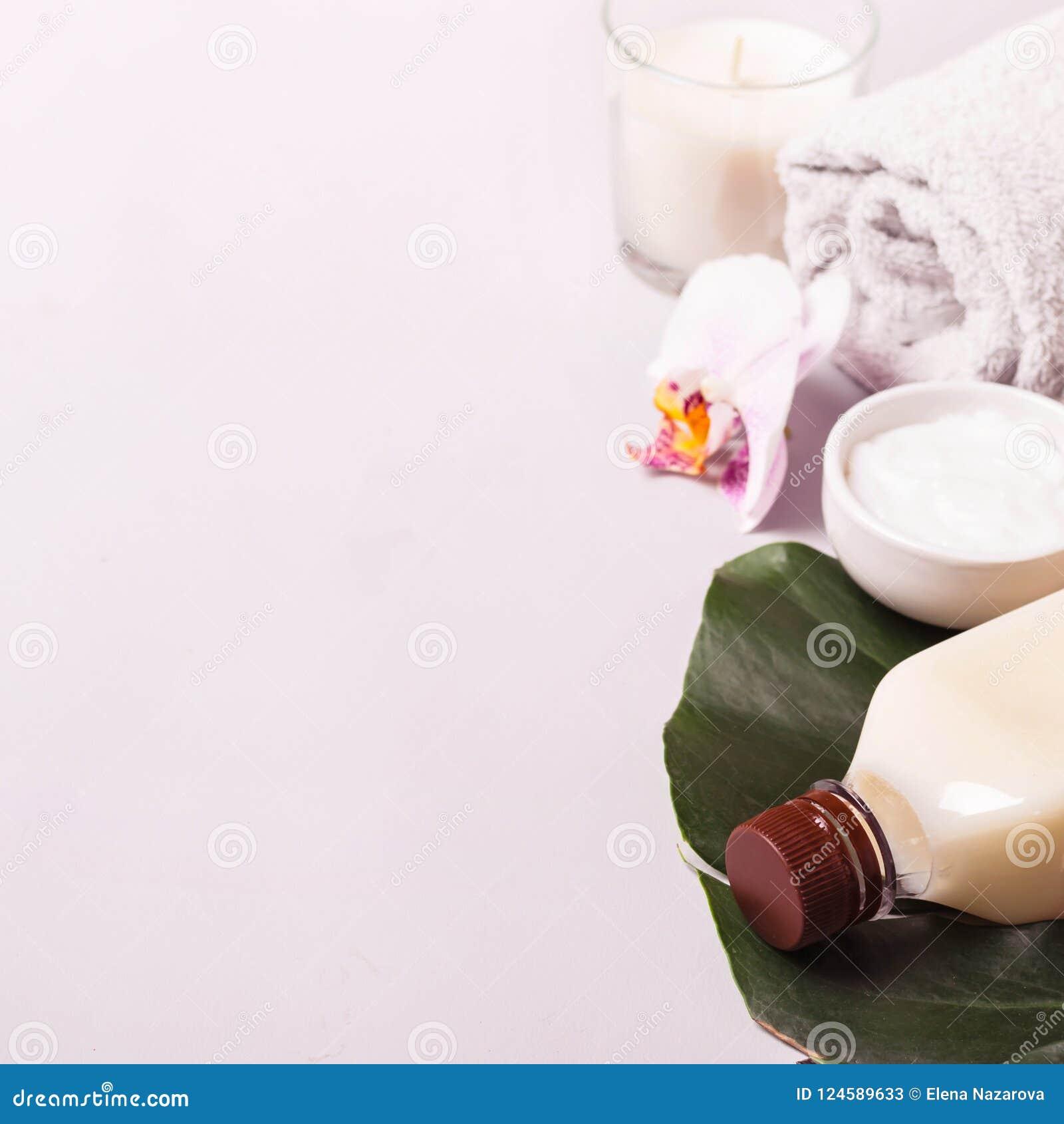 Óleo de coco e folhas tropicais Conceito dos termas dos cuidados capilares
