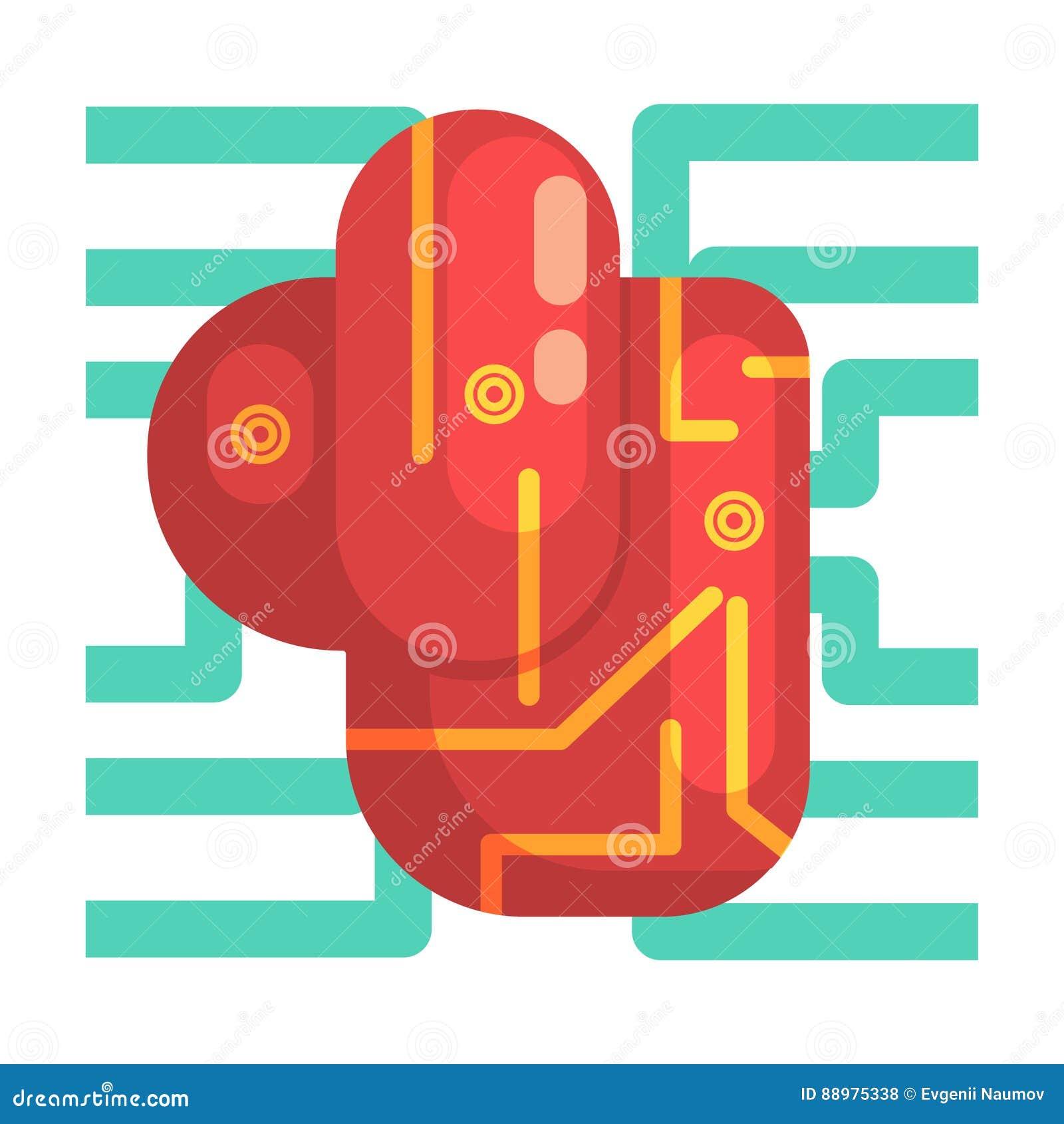 Órgão interno do coração eletrônico de Android, parte da série futurista robótico e da TI da ciência de ícones dos desenhos anima