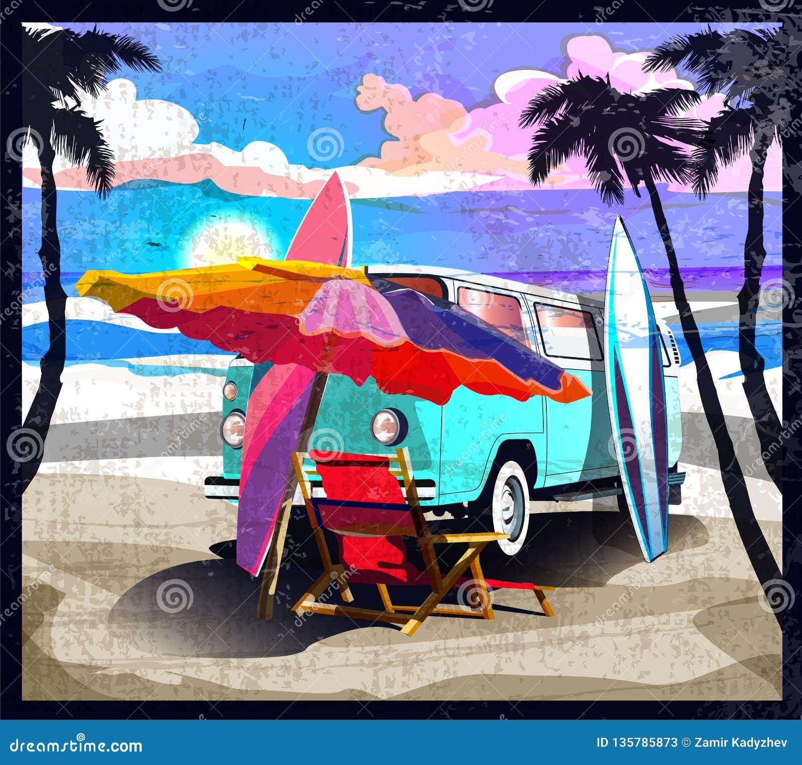 Ônibus alaranjado do surfista, camionete, campista com a prancha na praia tropical Palmeiras de Califórnia do cartaz e oceano azu