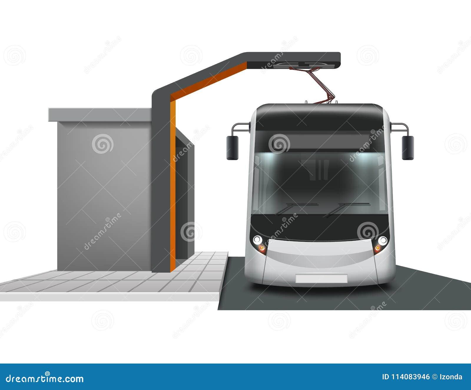 Ônibus bonde no carregamento