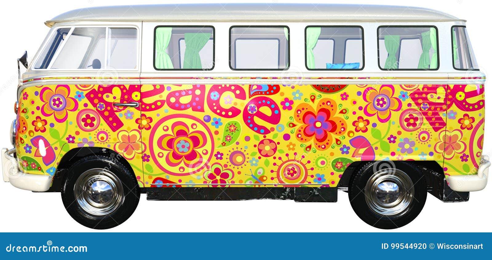 Ônibus Van Isolated da hippie da VW, Volkswagen