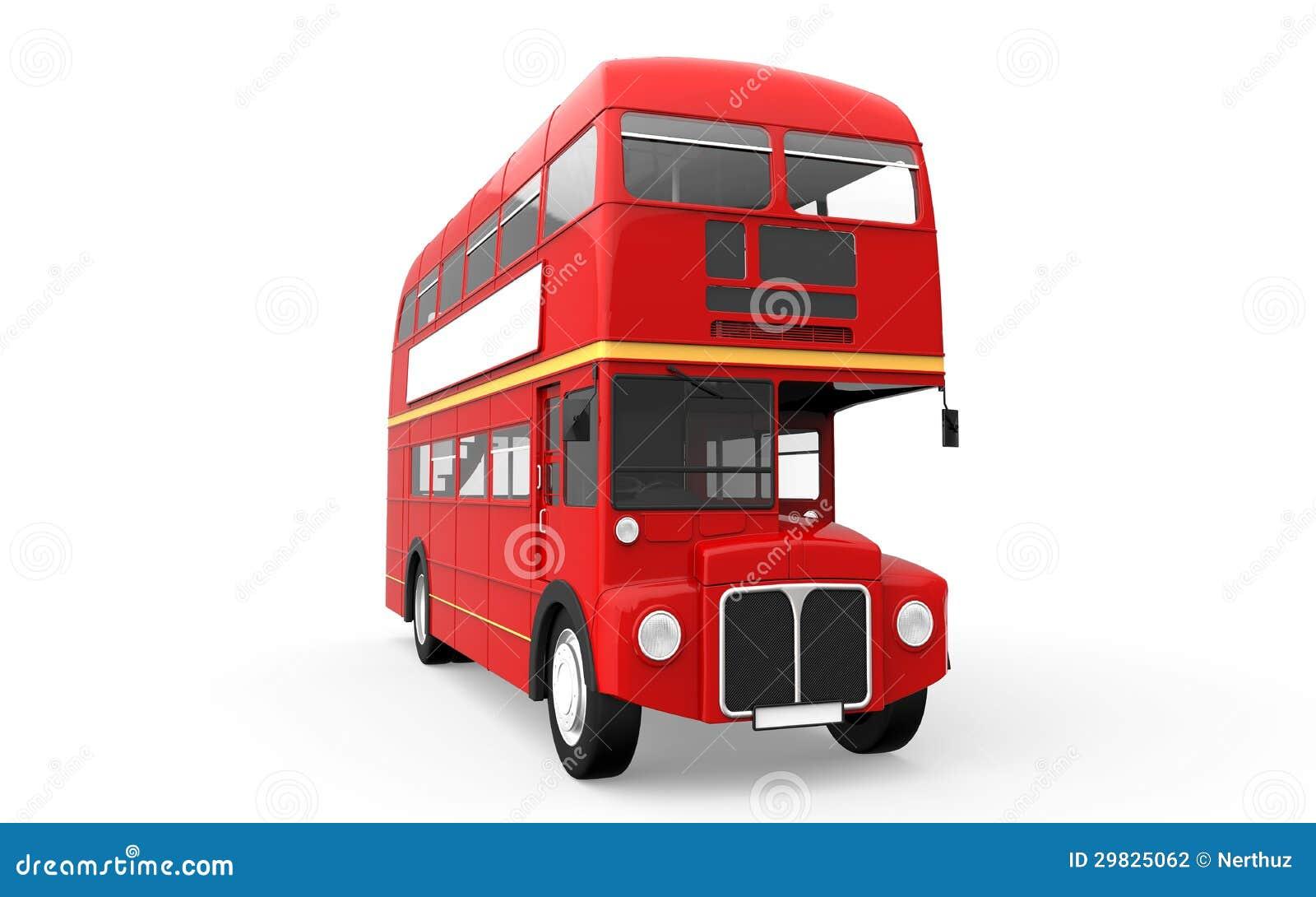 Ônibus vermelho do autocarro de dois andares isolado no fundo branco