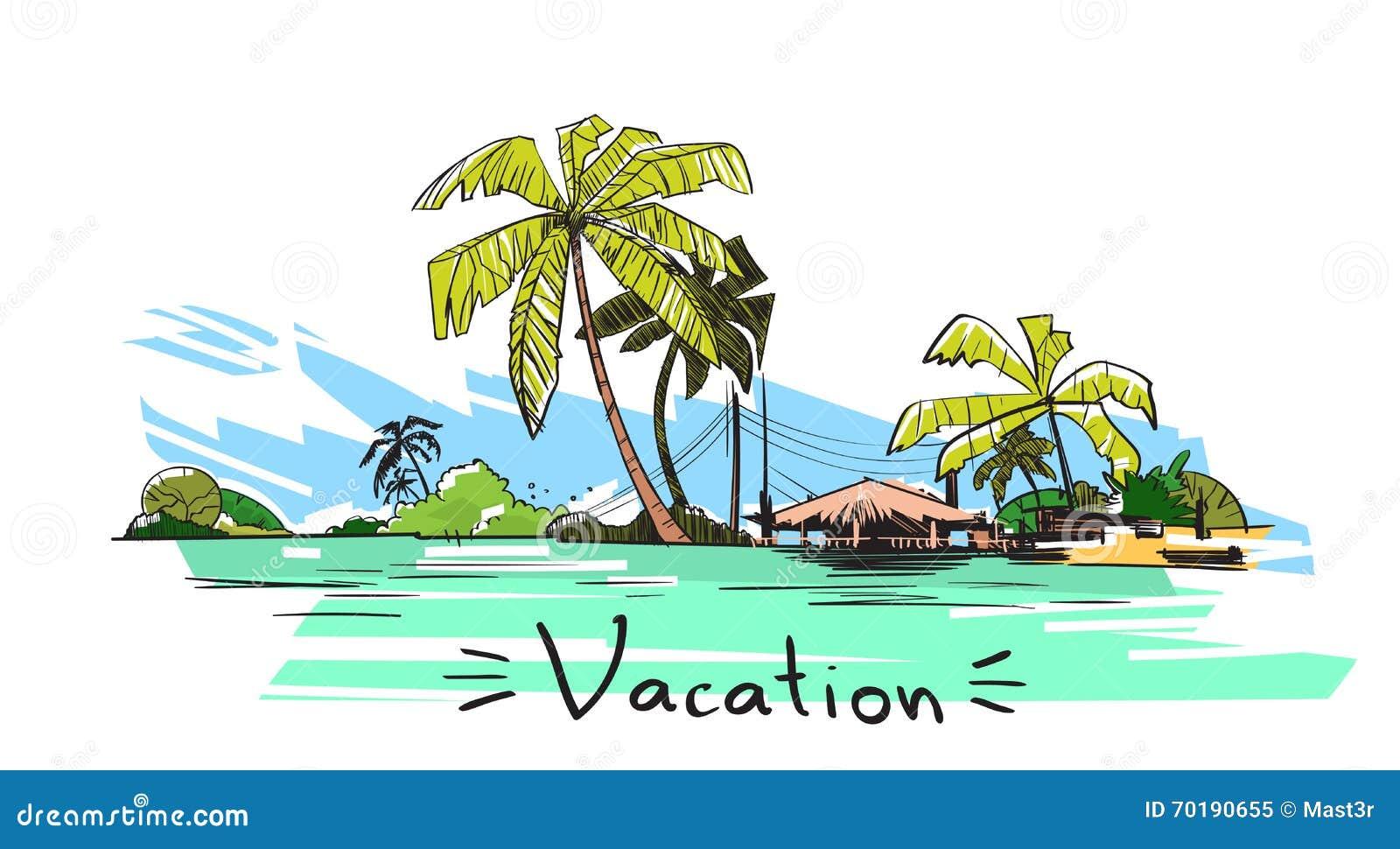 Ö för hav för ferie för sommarsemester tropisk med palmträdet