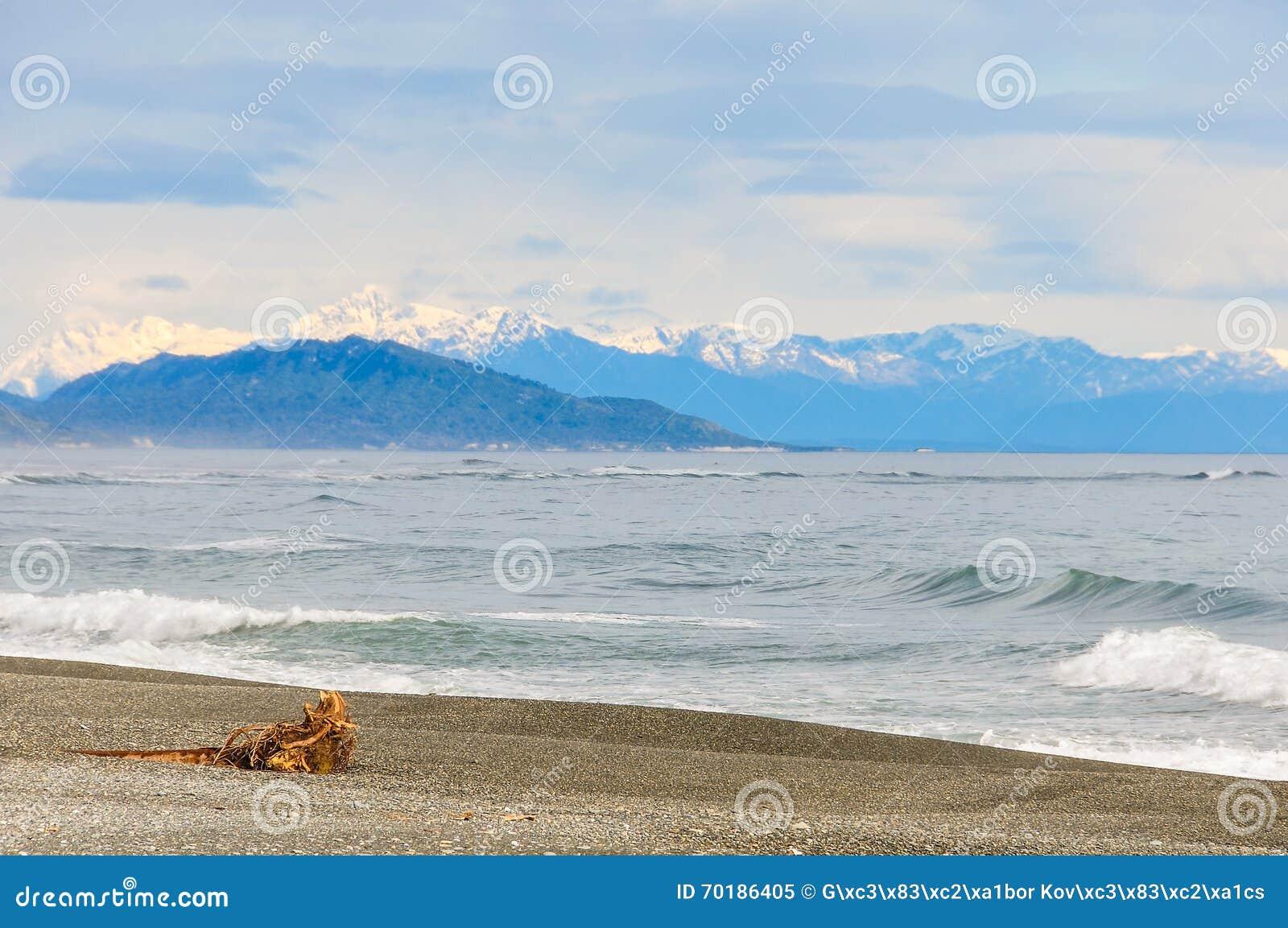 Öde strand nästan Punakaiki, Nya Zeeland
