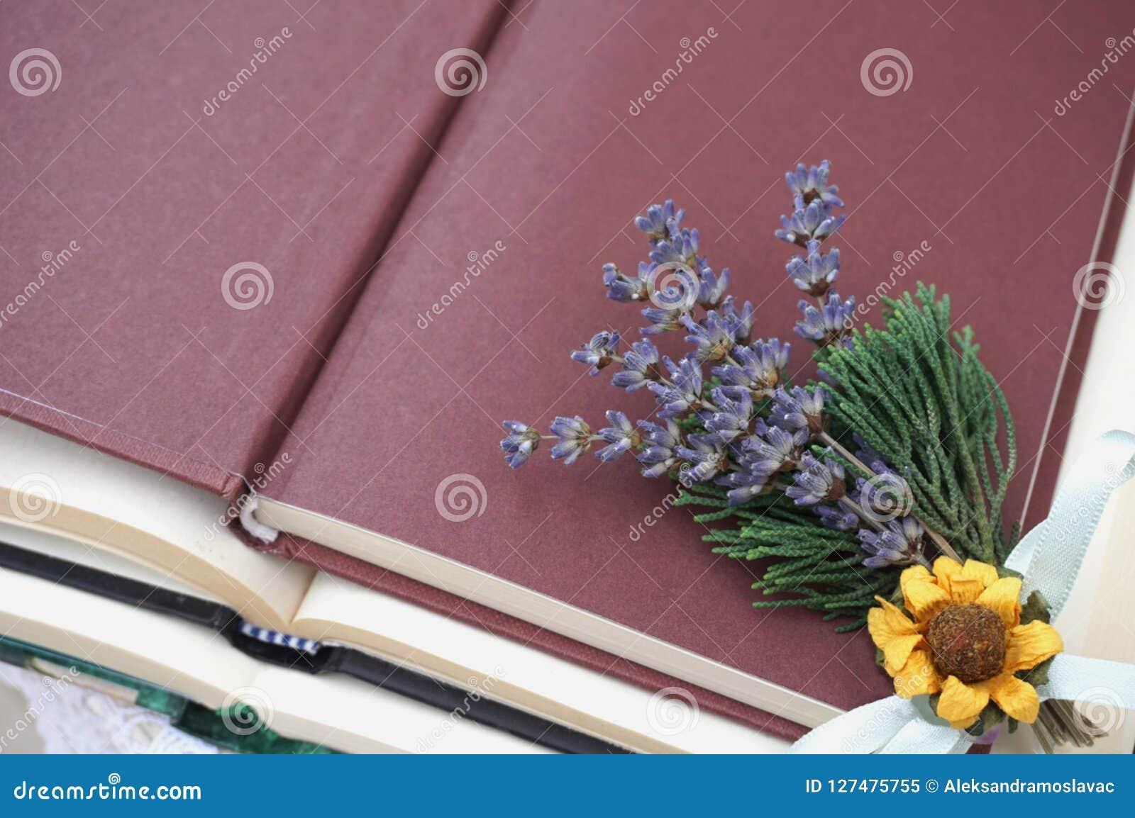 Öffnen Sie Abdeckung des Buches mit kleinem Bündel Lavendel, trockener Sonnenblume und grünen Niederlassungen
