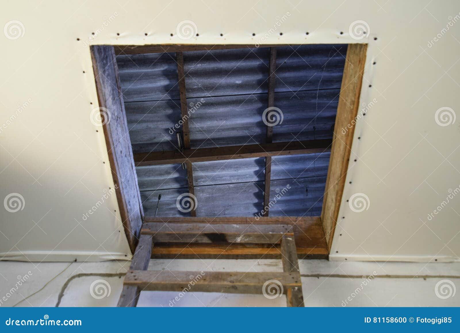 Relativ Öffnen Sie Den Eingang Zum Dachboden Das Treppenhaus Und Die Tür NT03