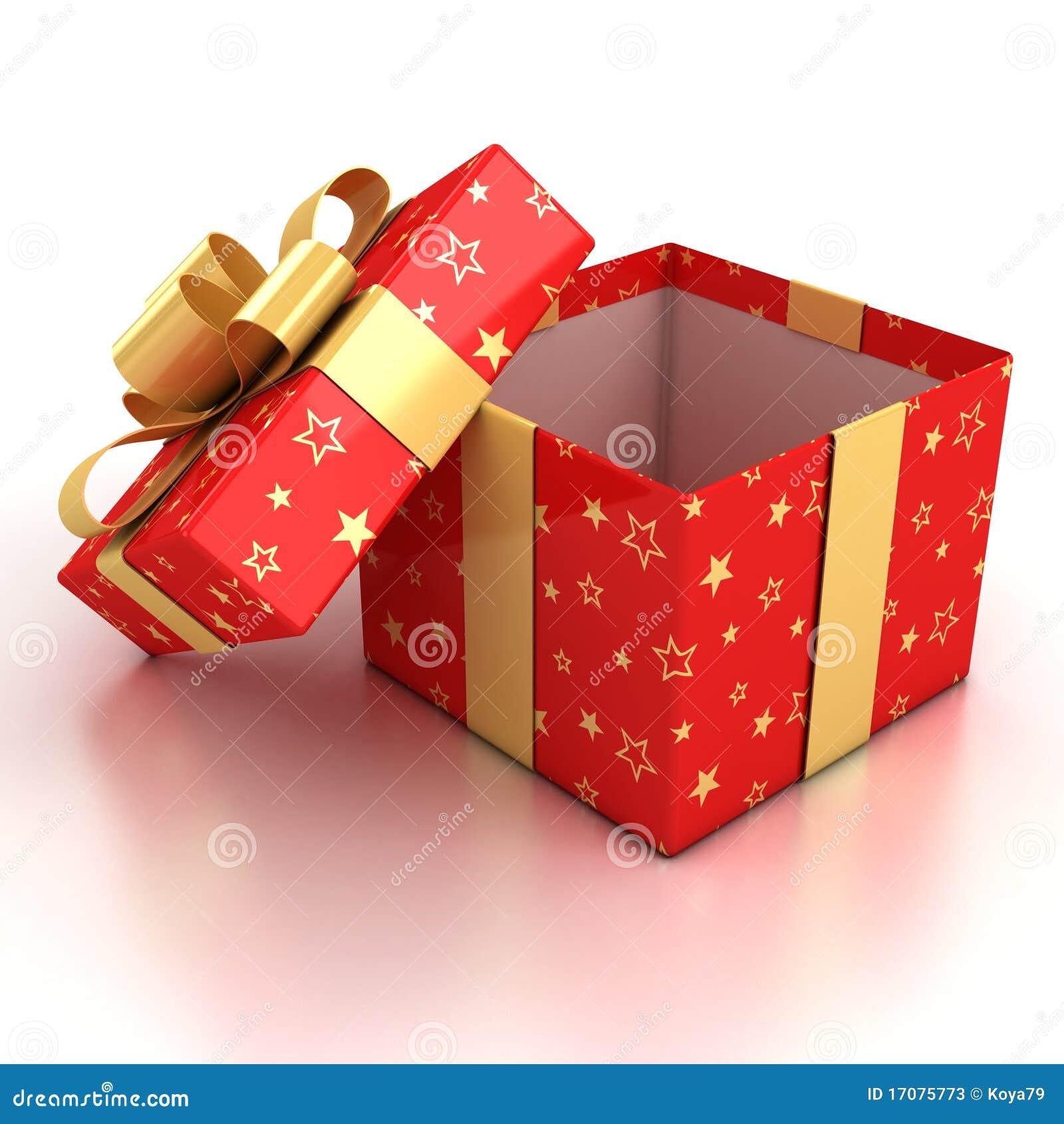 Öffnen Sie Geschenkkasten über weißem Hintergrund