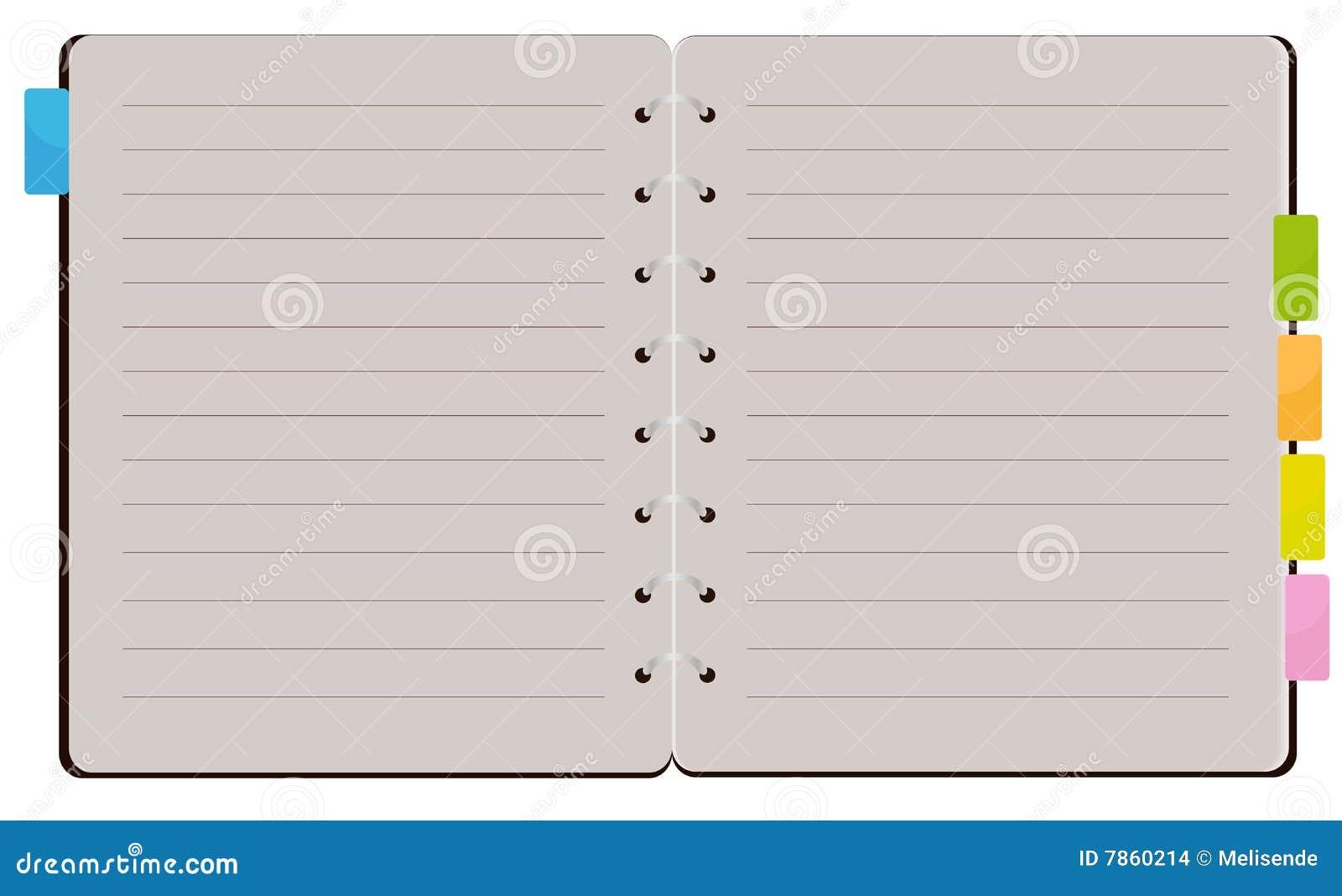 Öffnen Sie gewundenes Notizbuch