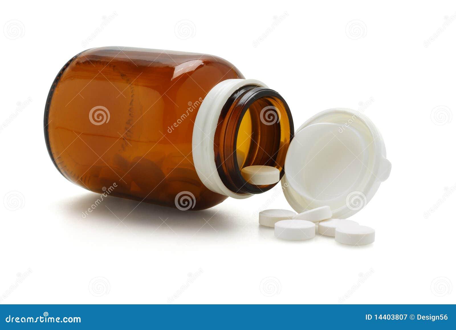 Öffnen Sie Glasflasche und spliied Tabletten