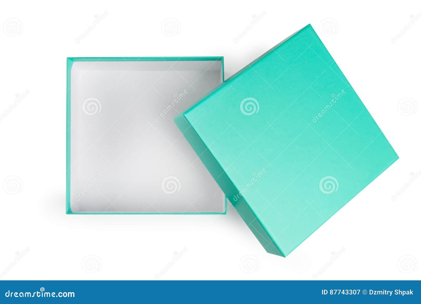 Öffnen Sie grüne Geschenkbox auf weißem Hintergrund
