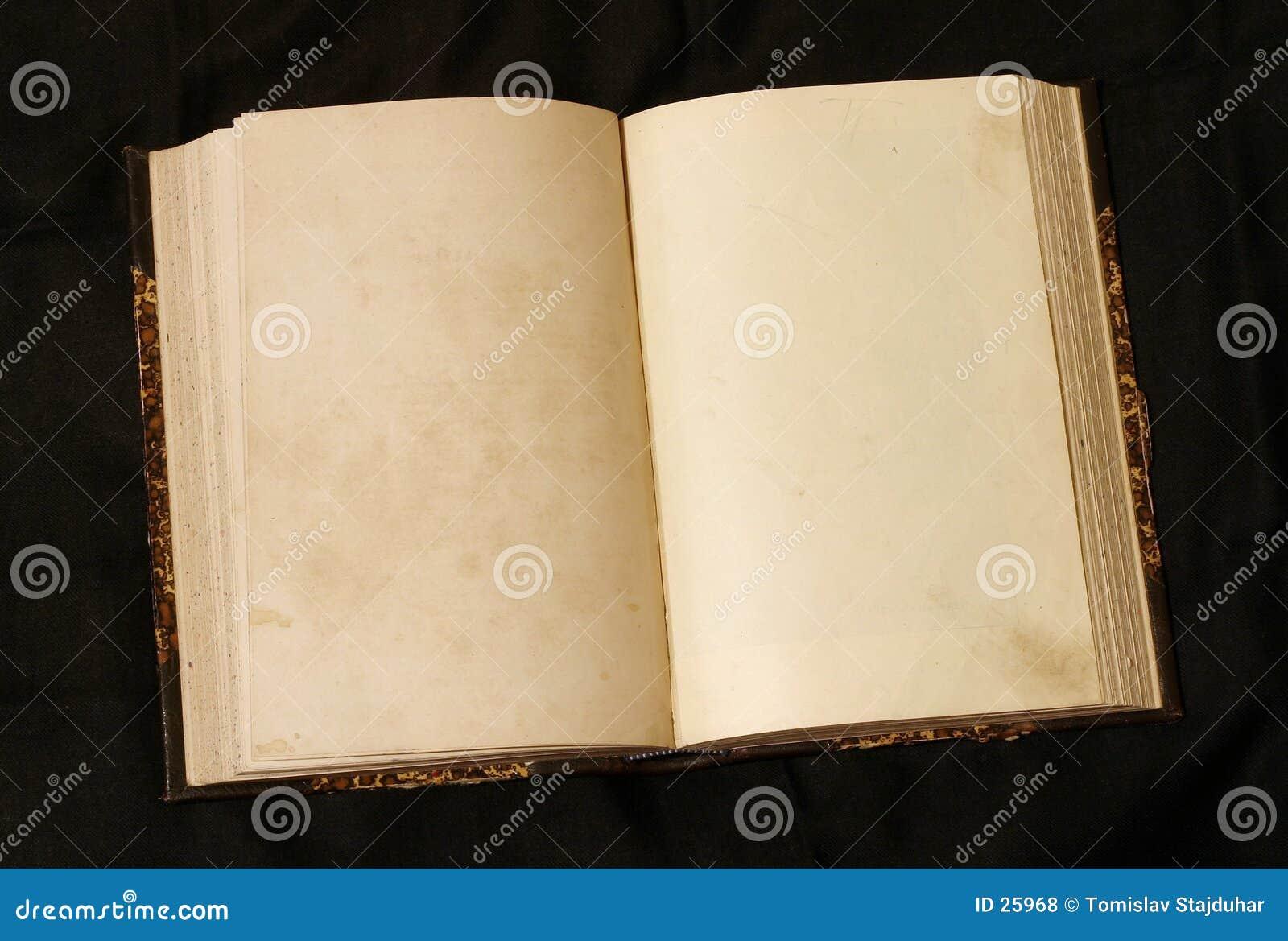 Öffnen Sie leere Seiten im alten Buch