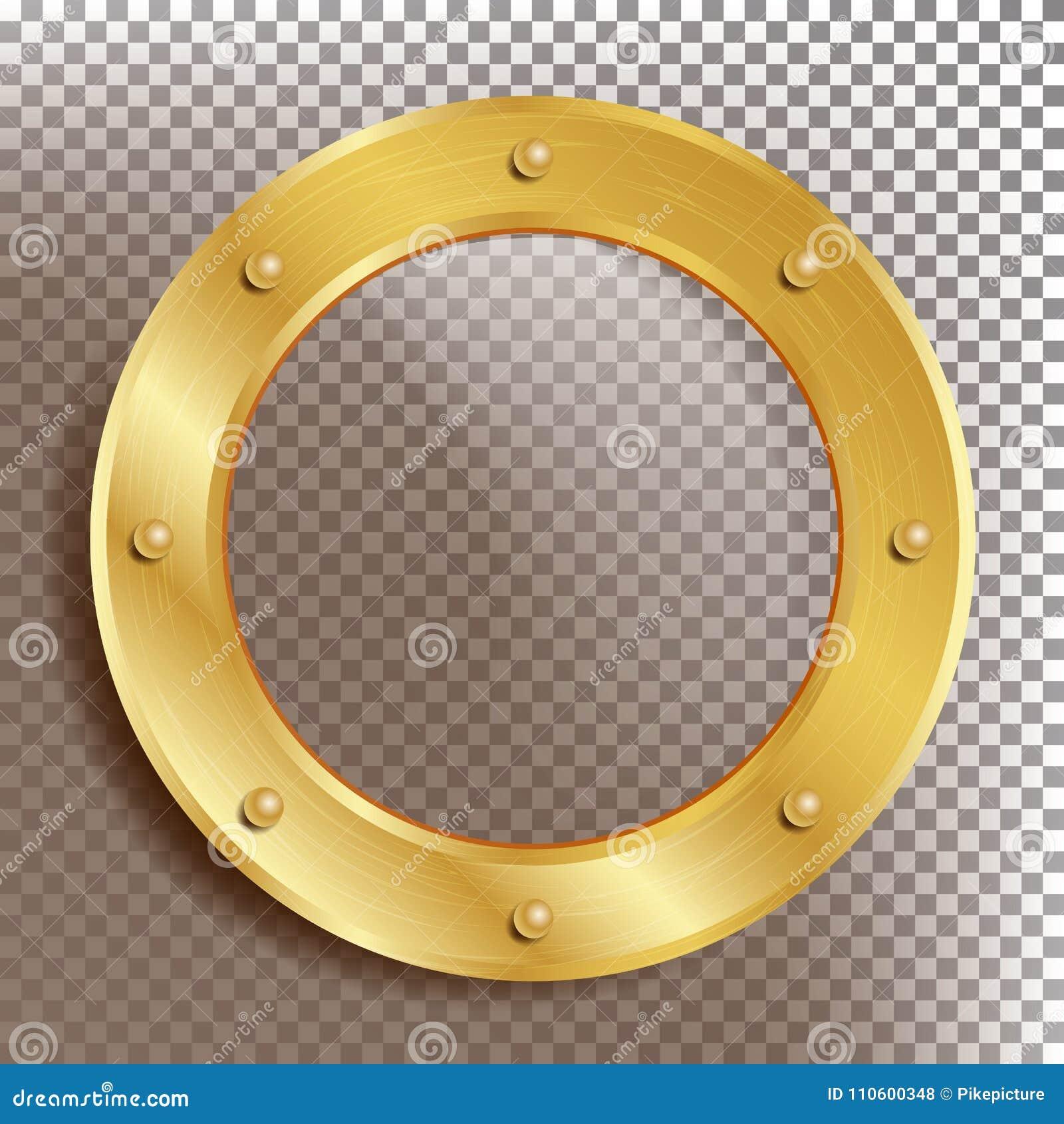 öffnungs Vektor Rundes Goldenes Fenster Mit Nieten Bathyscaphe