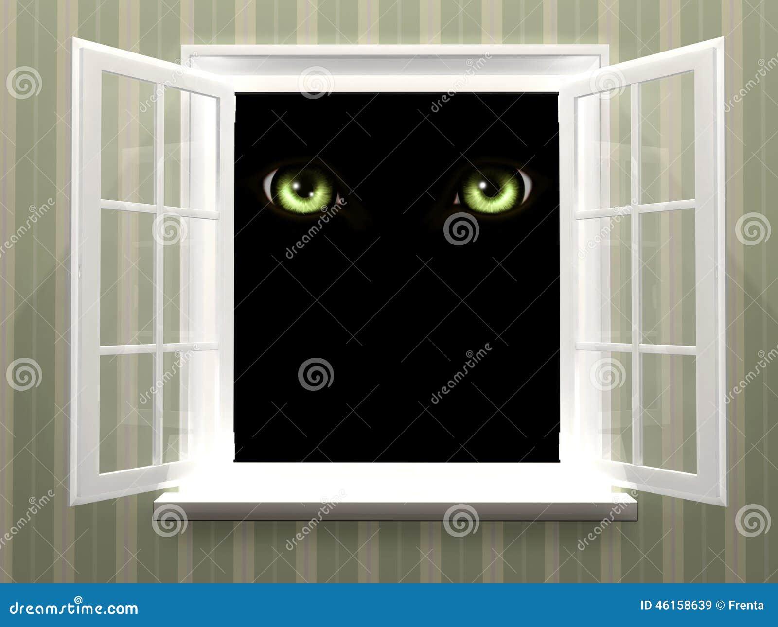 Ögon av monstret i öppet fönster