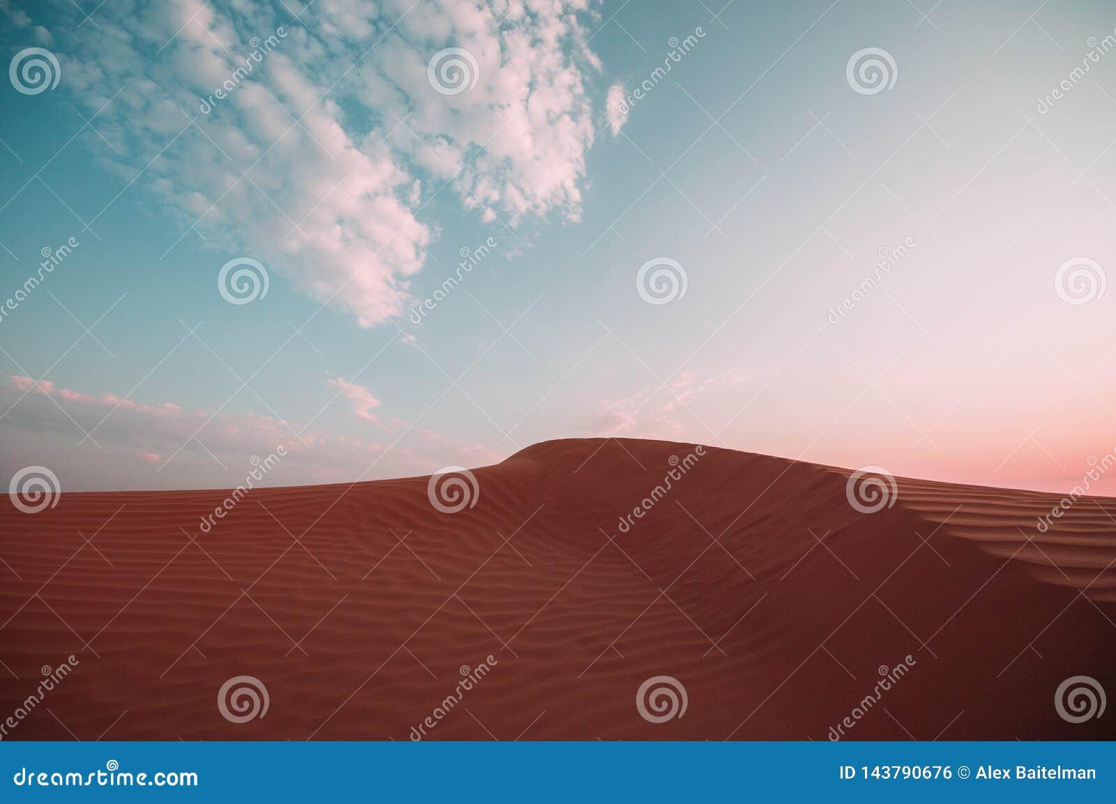 Öken med sanddyn och röda sanddyn