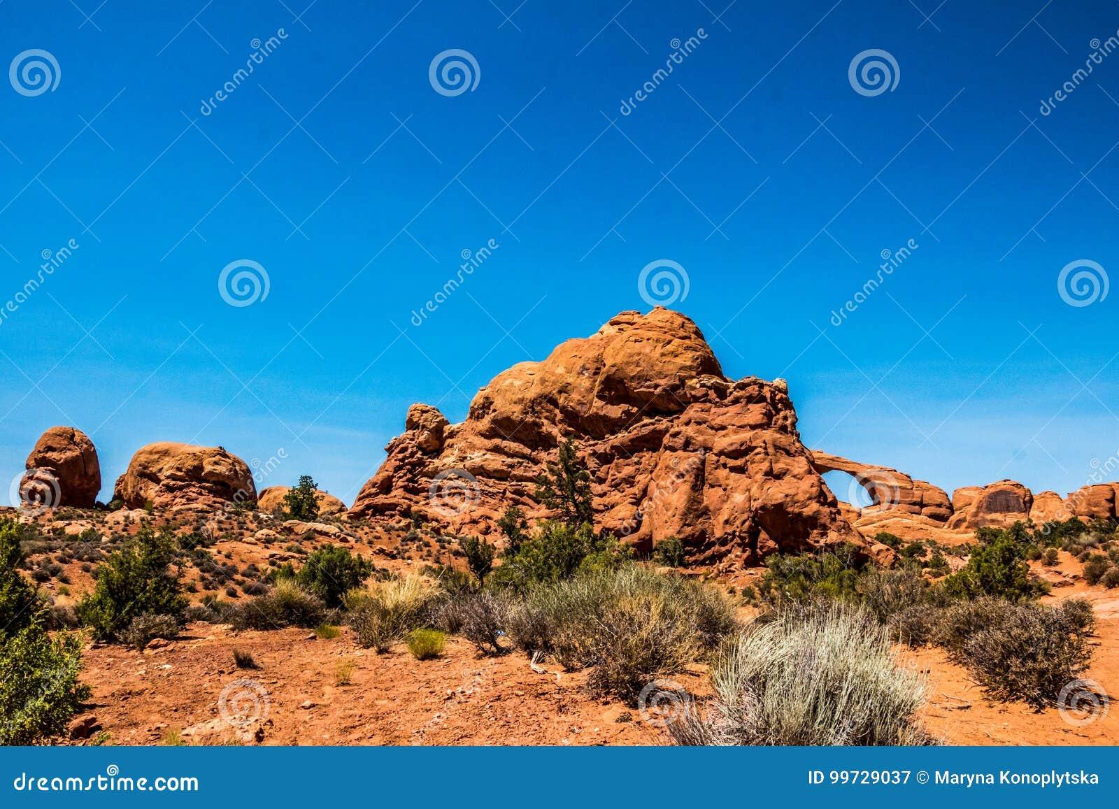 Öken- och stenbågar Landskap av öknen Moab, Utah