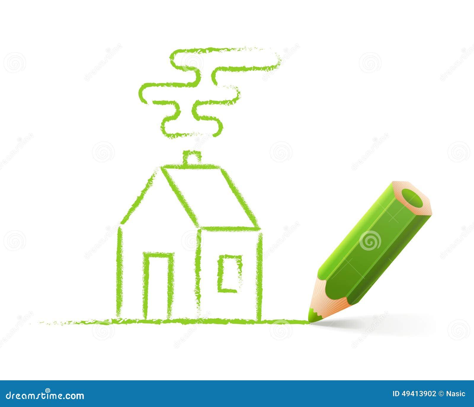 Download Öko-Haus, Drawed Mit Farbbleistift Vektor Abbildung - Illustration von element, haus: 49413902