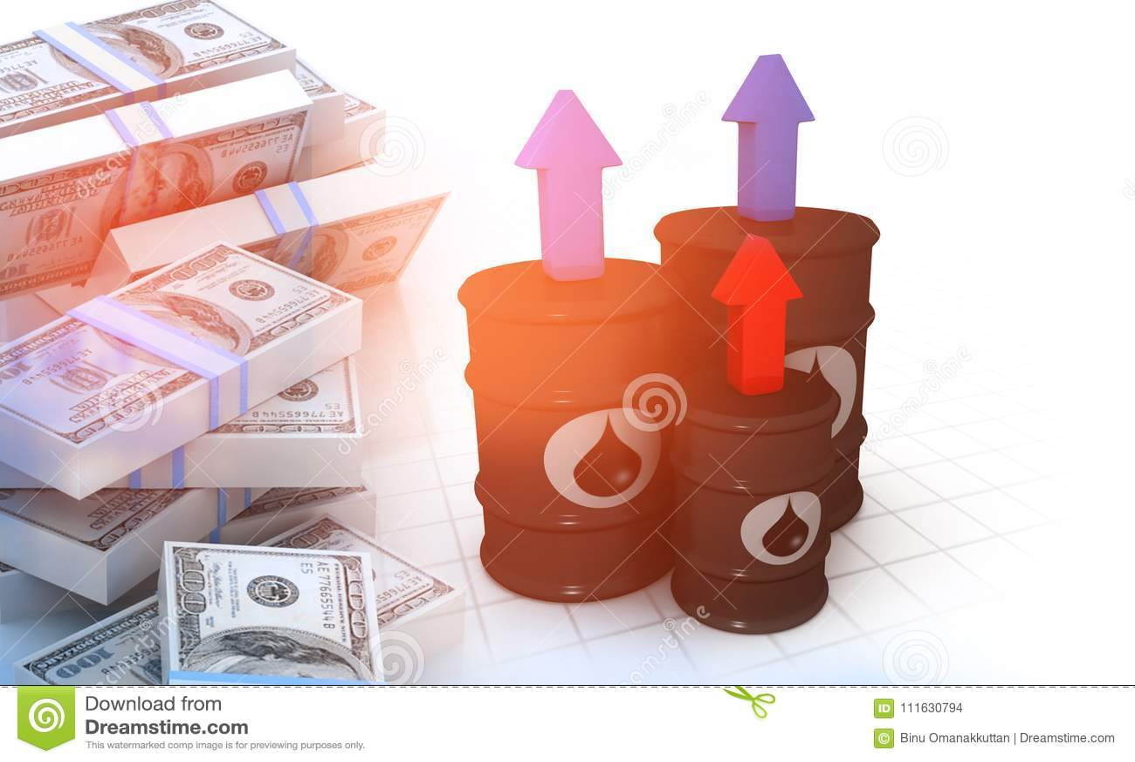 Ölbarrel mit Stapel Dollar