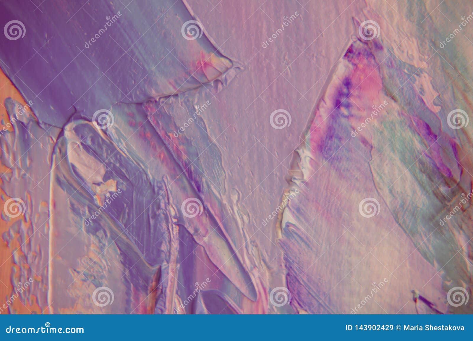 Ölfarbe auf Segeltuch wird durch Palettenmesser geschrieben Nahaufnahme einer Malerei vom Öl- und Palettenmesser auf Segeltuch