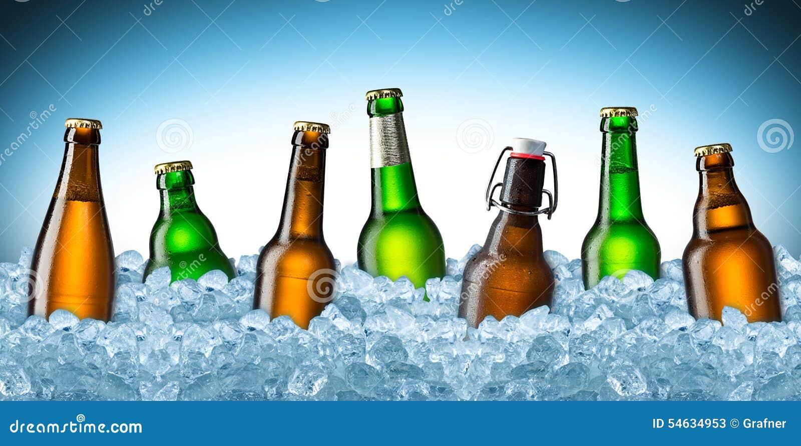 Ölflaskor på is