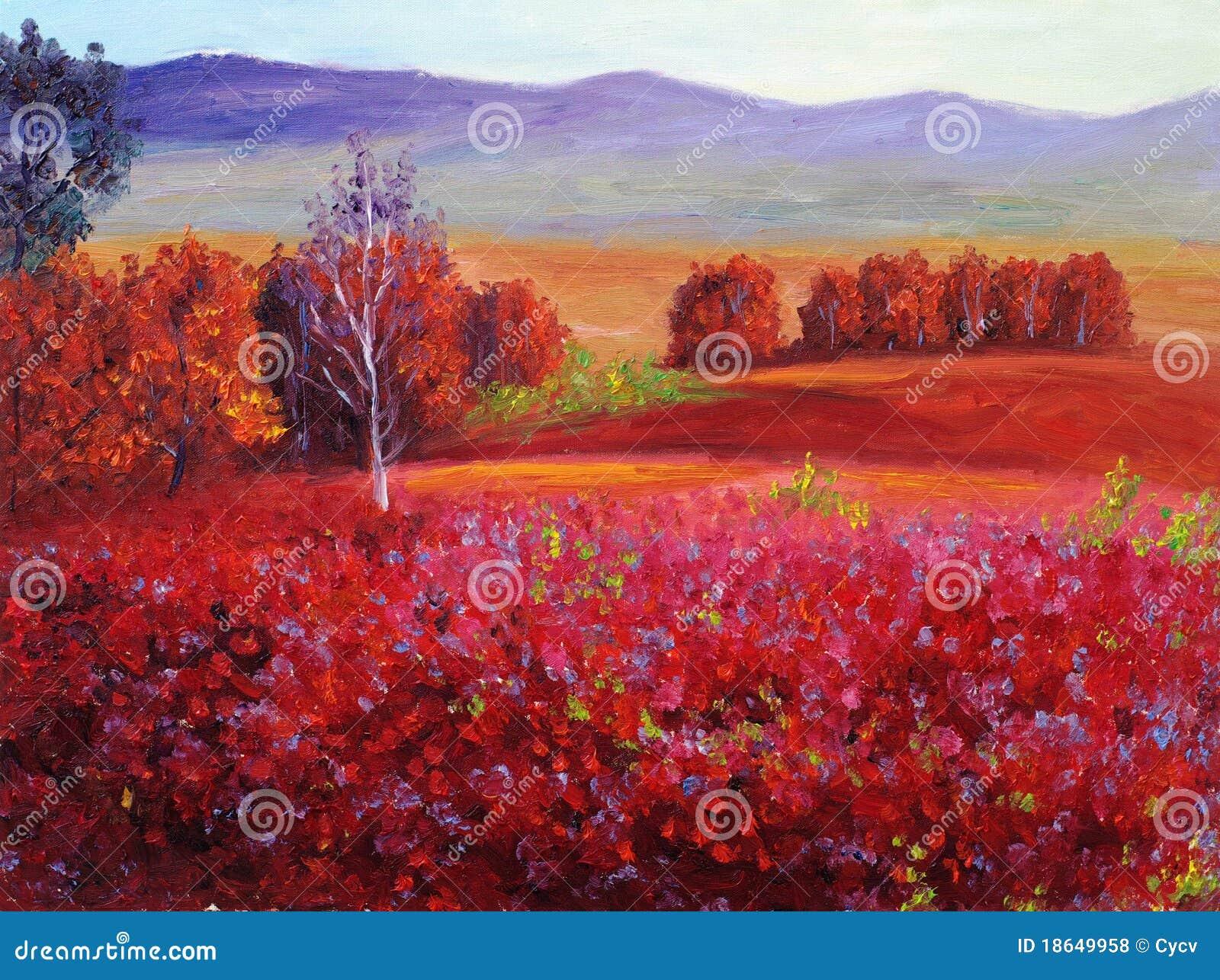Ölgemälde - abstrakter roter Herbst