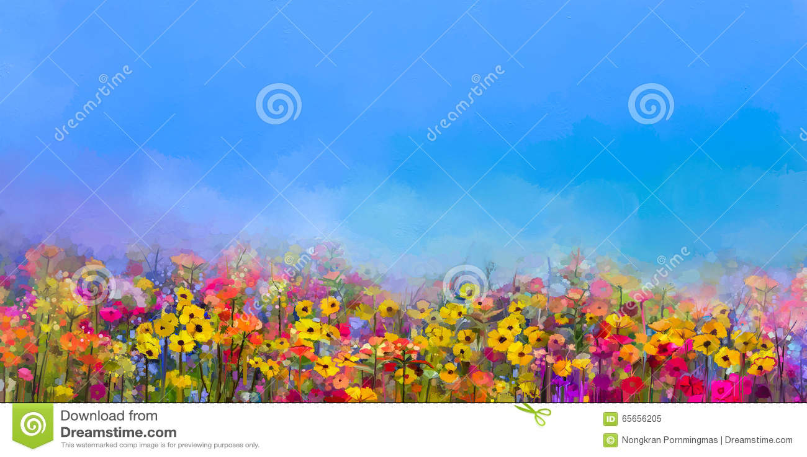 Ölgemälde von Sommerfrühlingsblumen Kornblume, Gänseblümchenblume